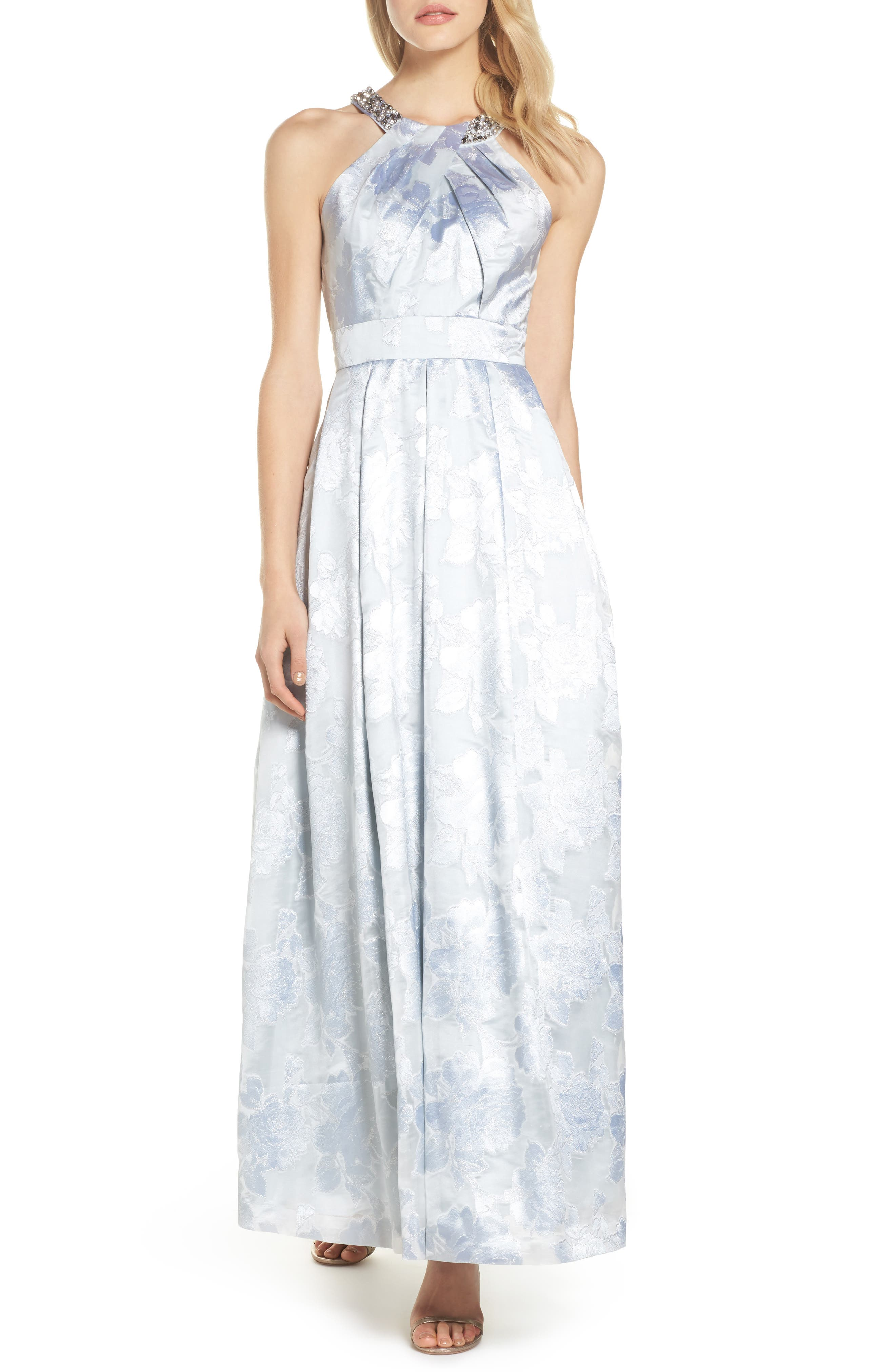 Beaded Halter Neck Gown,                         Main,                         color, Silver