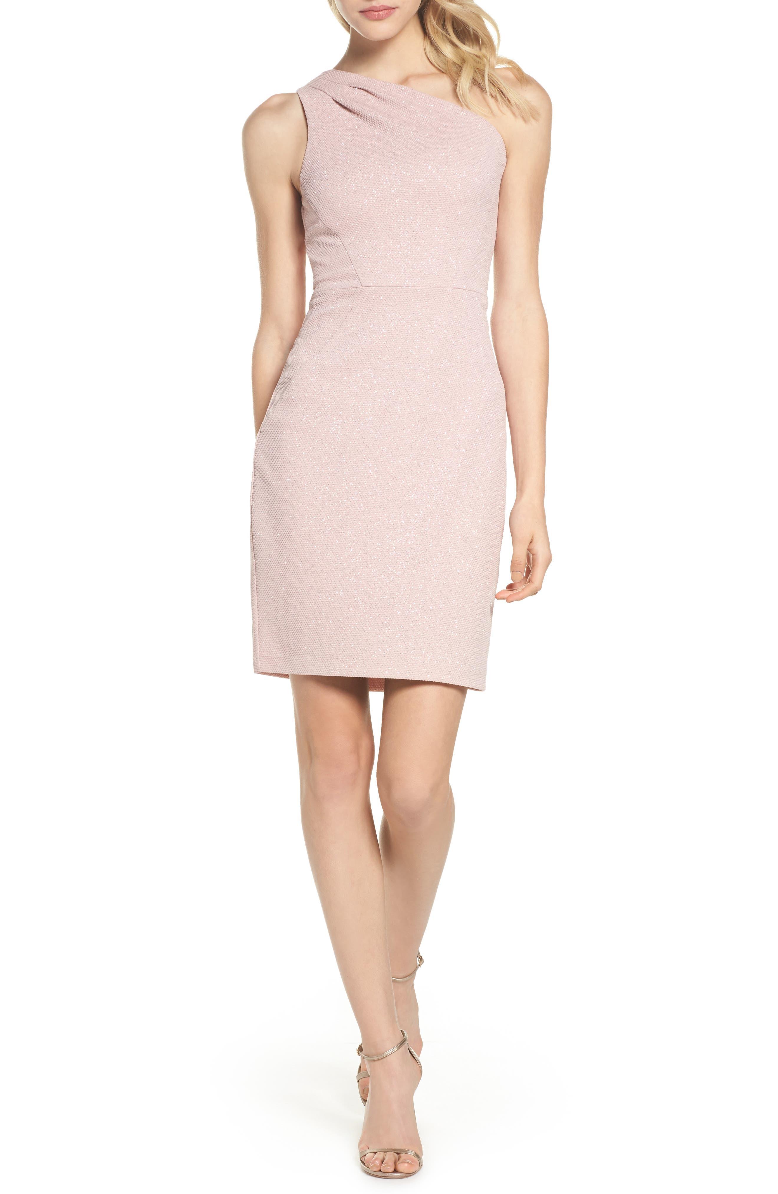 Glitter One-Shoulder Sheath Dress,                         Main,                         color, Blush
