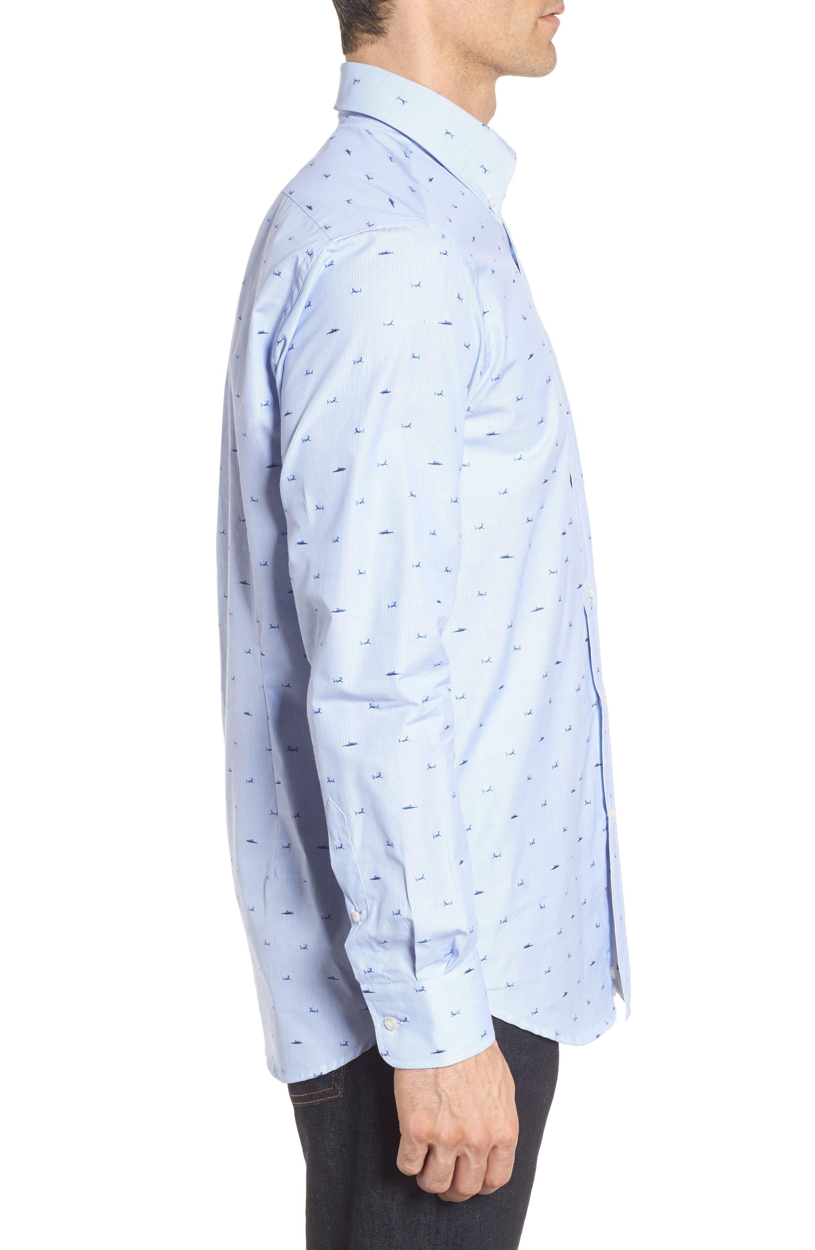 Paul&Shark Great White Jacquard Sport Shirt,                             Alternate thumbnail 4, color,                             Blue