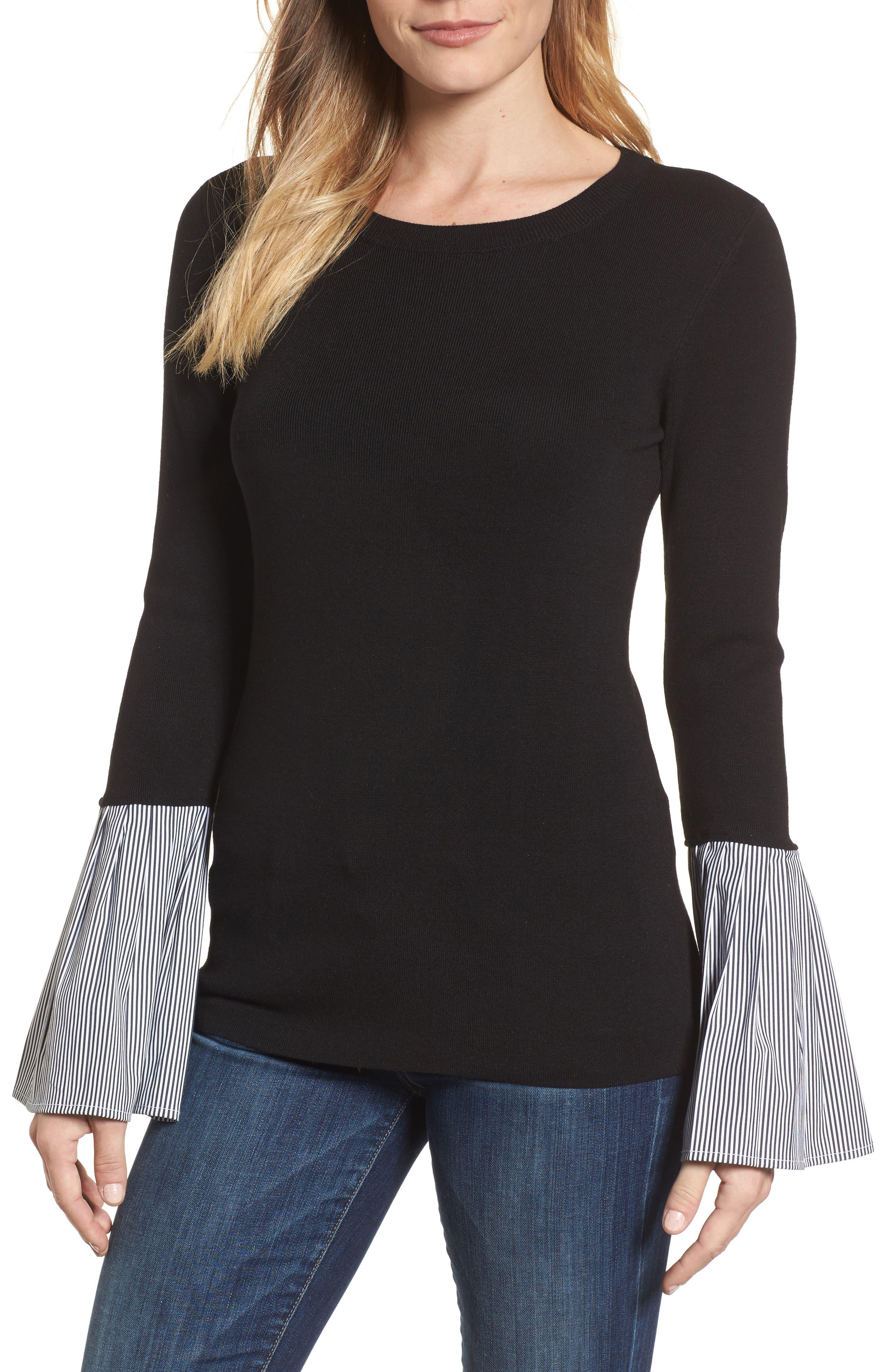Poplin Bell Cuff Sweater,                             Main thumbnail 1, color,                             Black