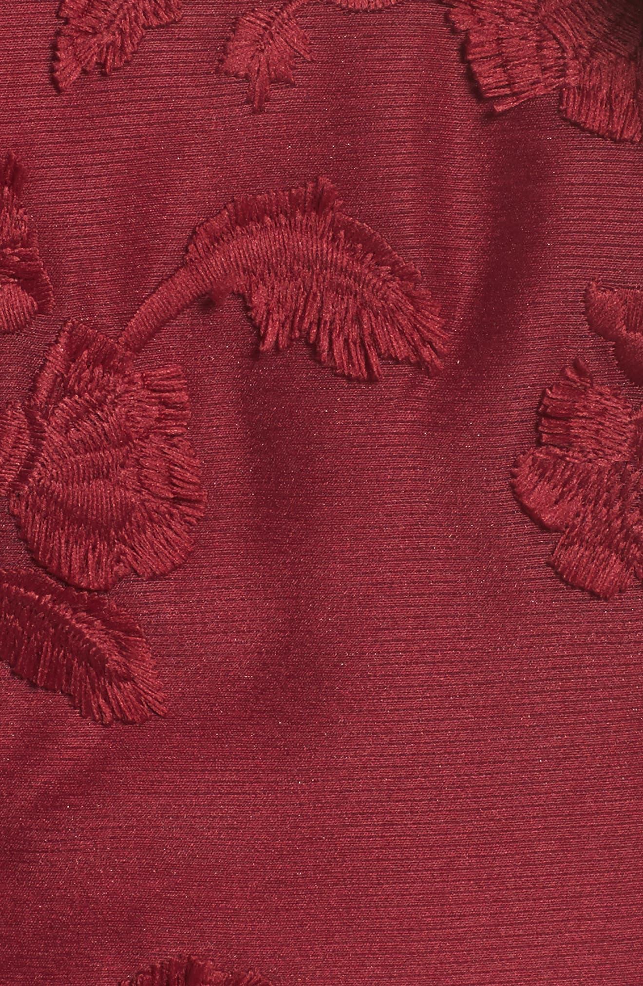 Shine Ruffle Lace Tea Length Dress,                             Alternate thumbnail 5, color,                             Raspberry