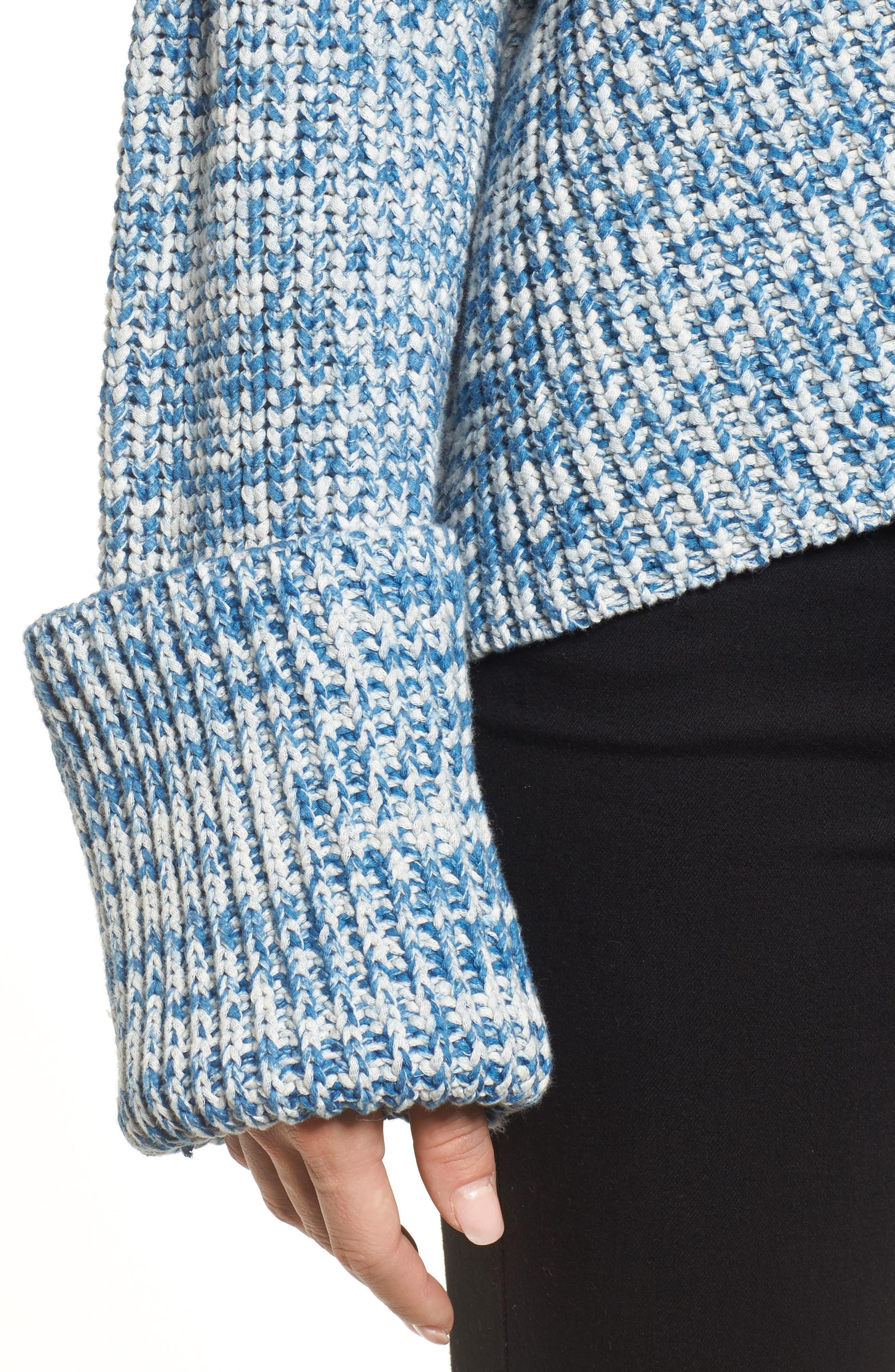 Knit V-Neck Sweater,                             Alternate thumbnail 4, color,                             Denim Marl