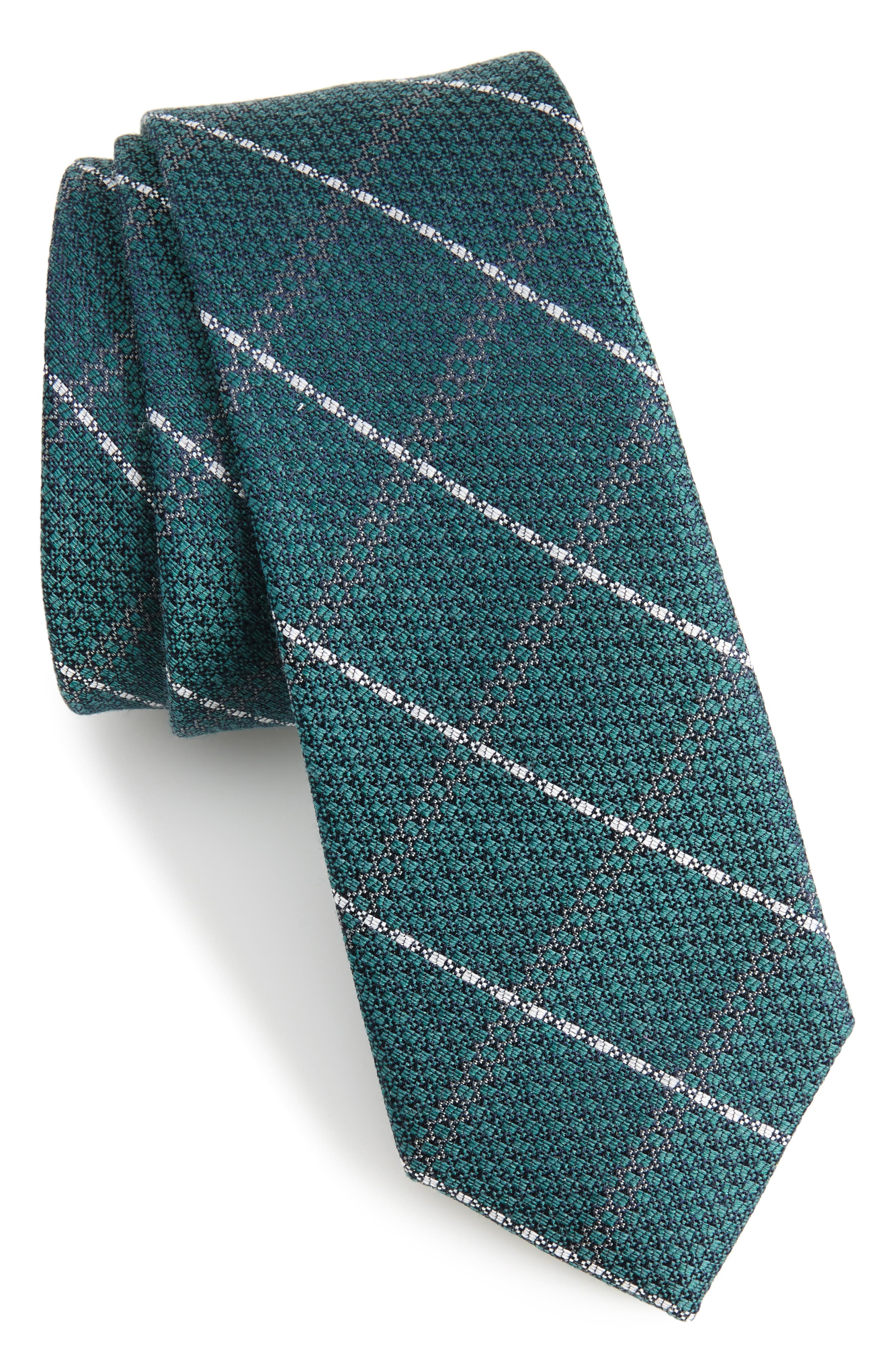 Plaid Silk & Wool Tie,                         Main,                         color, Hunter Green