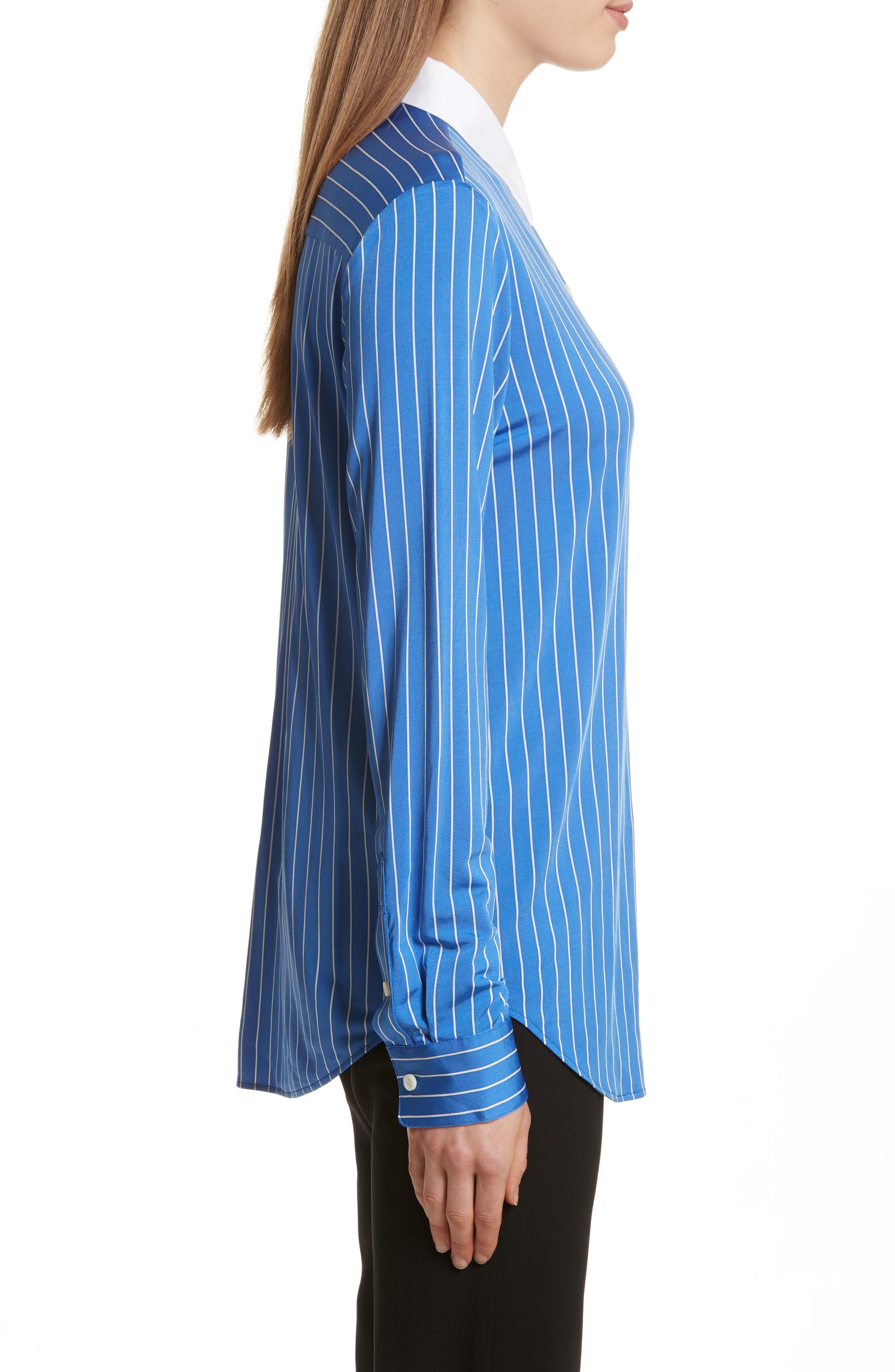 Essential Stripe Jersey Button Down Shirt,                             Alternate thumbnail 3, color,                             Blue/ White