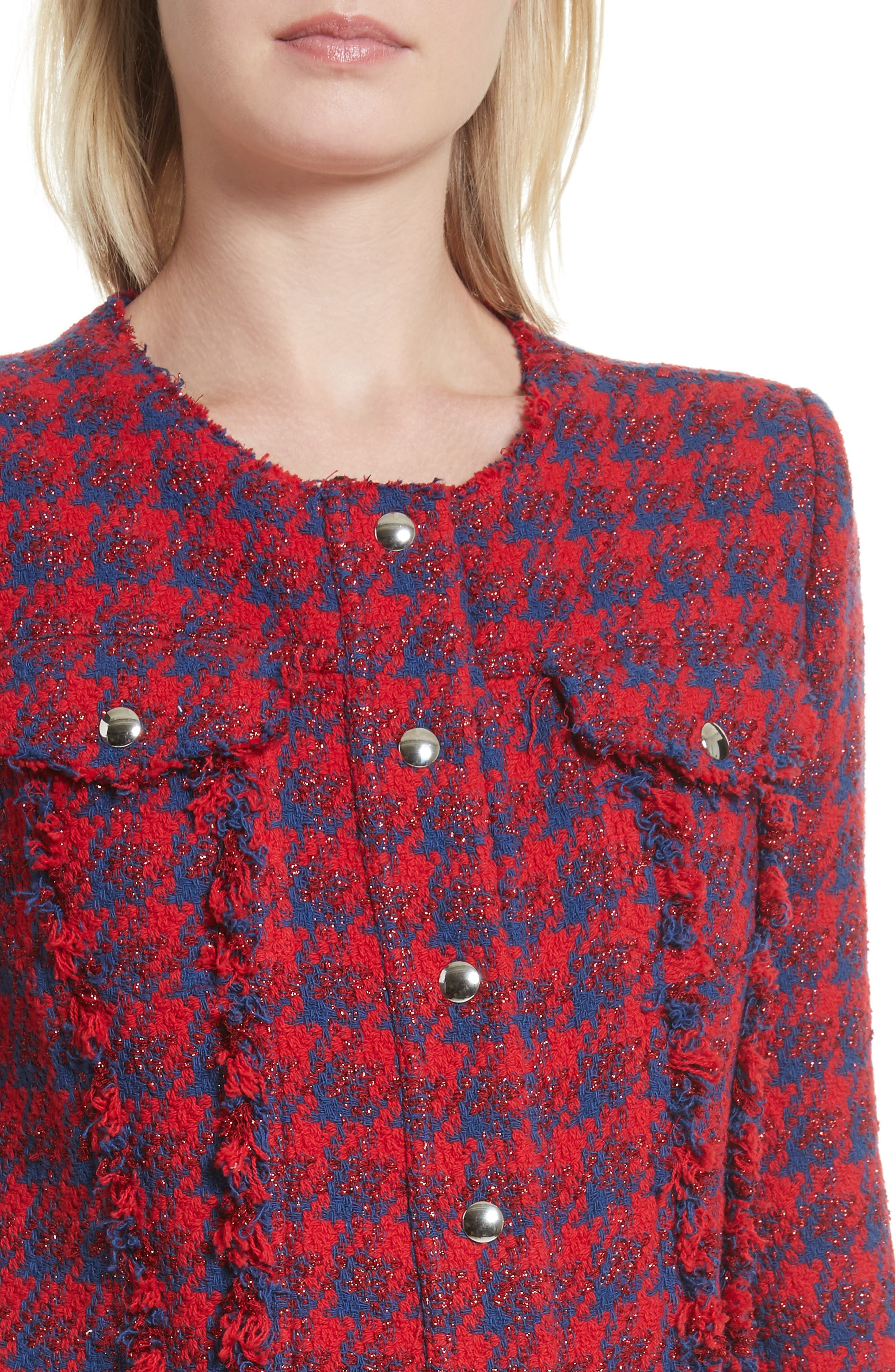 Quilombre Houndstooth Tweed Jacket,                             Alternate thumbnail 4, color,                             Red/ Blue