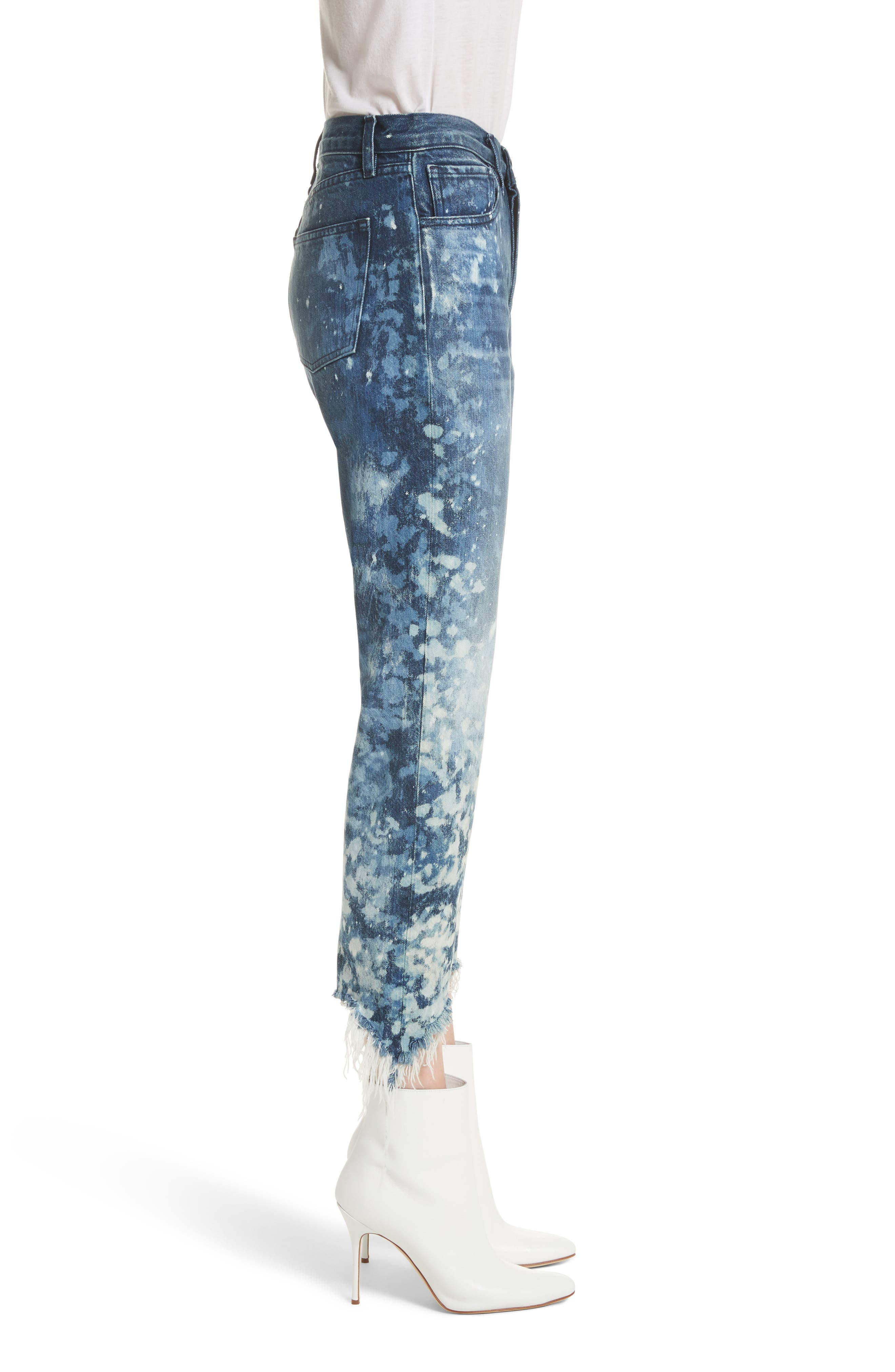 W3 Higher Ground Bleached Ankle Slim Fit Jeans,                             Alternate thumbnail 4, color,                             Stardust