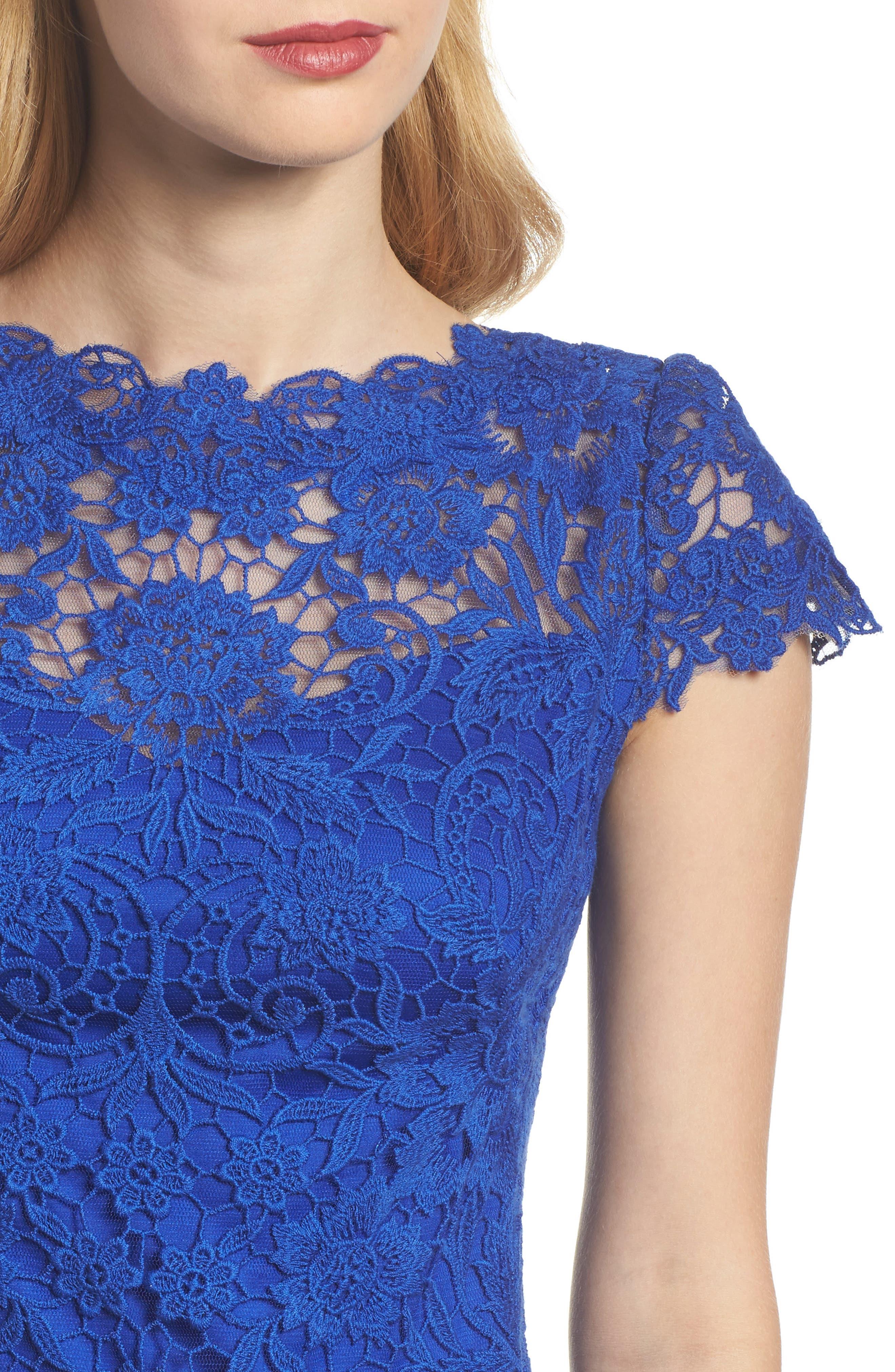Crochet Sheath Dress,                             Alternate thumbnail 4, color,                             Horizon Blue