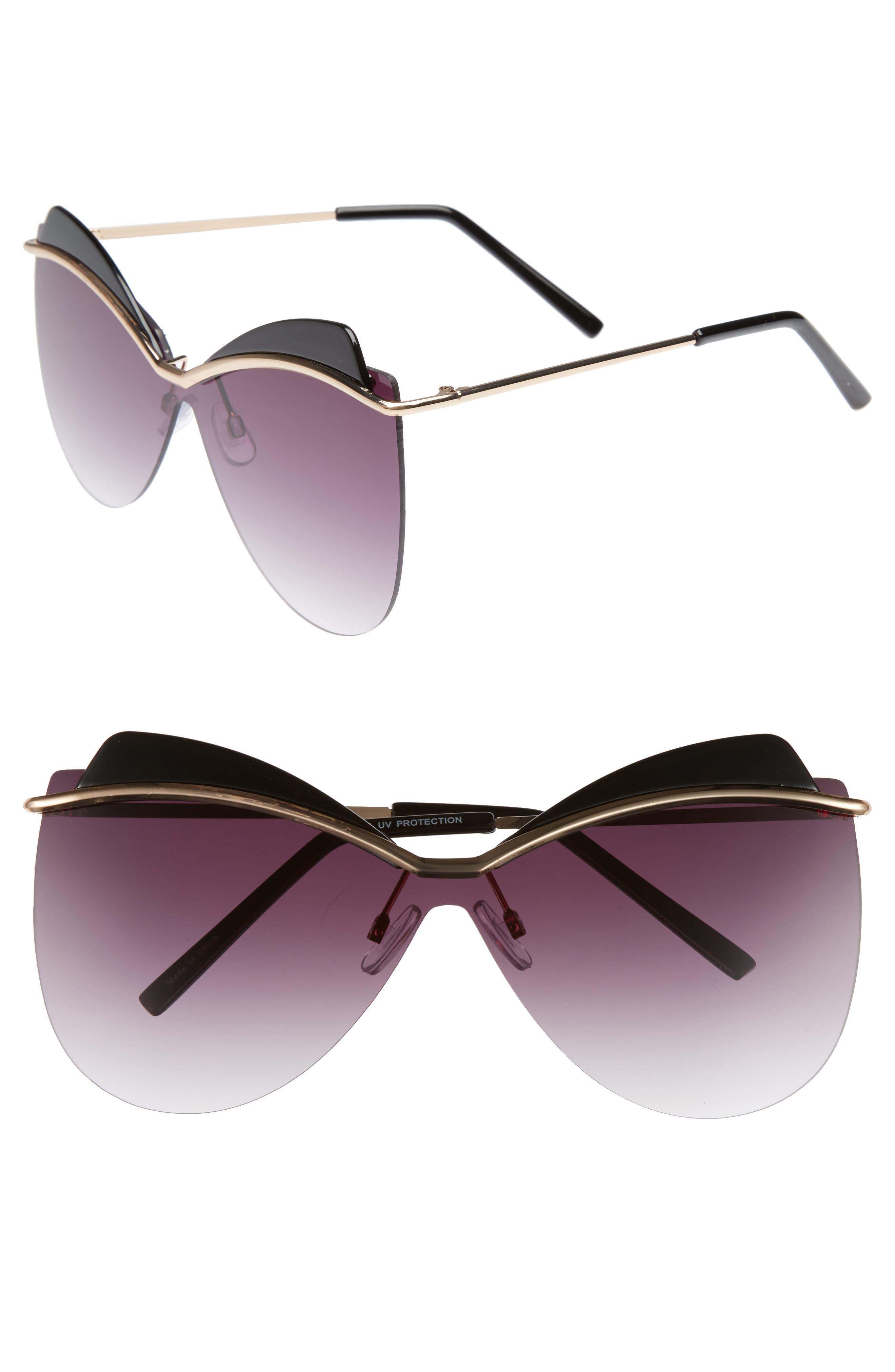 65mm Rimless Shield Sunglasses,                             Main thumbnail 1, color,                             Black/ Gold