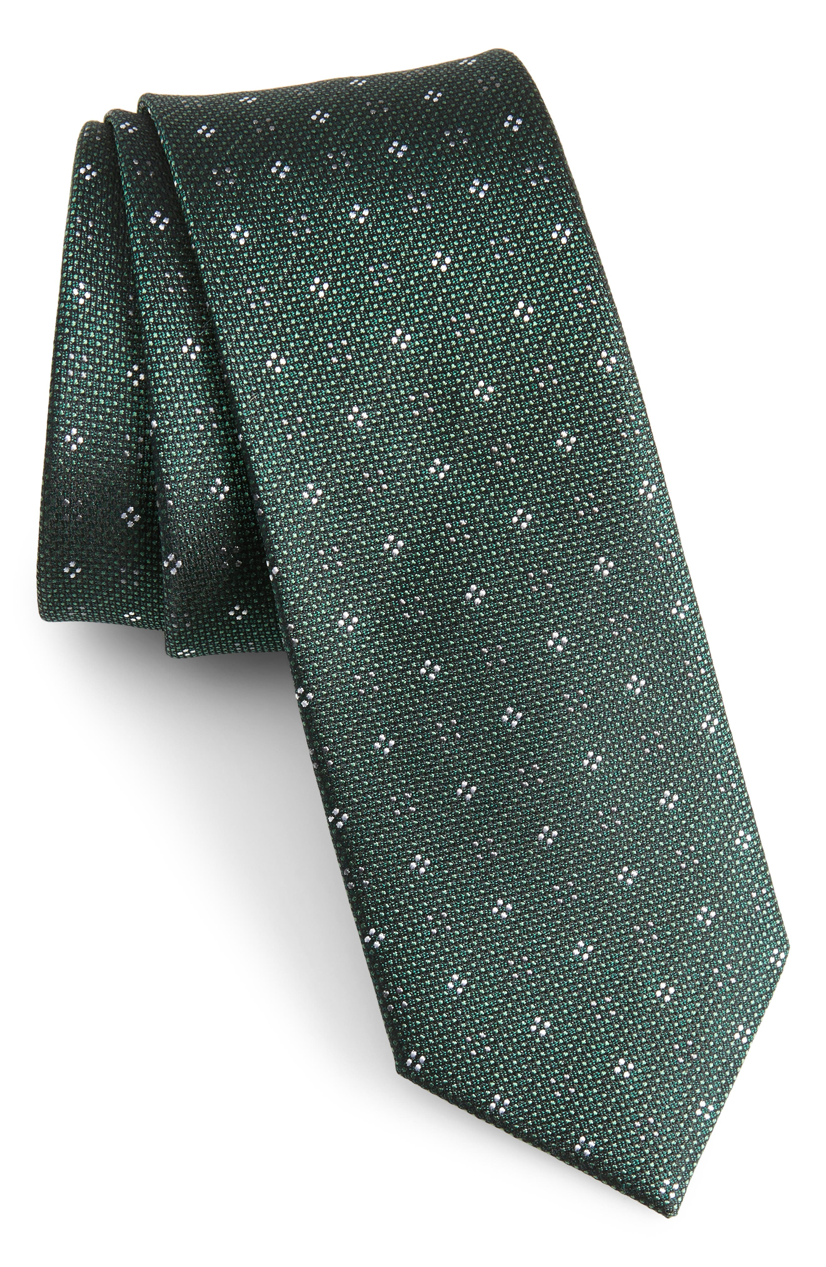 Bond Geos Silk Skinny Tie,                             Main thumbnail 1, color,                             Hunter Green