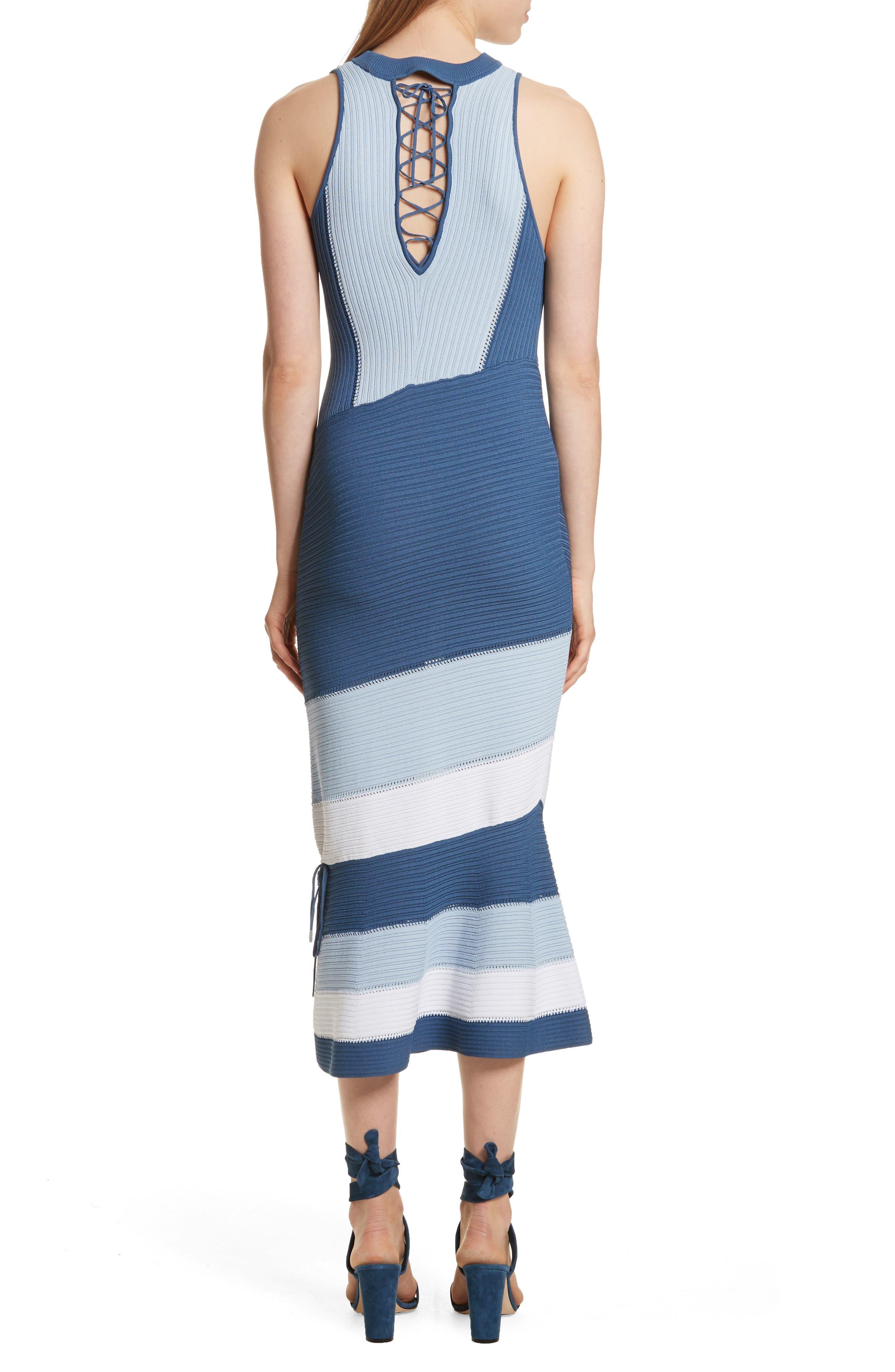 Linked Asymmetrical Dress,                             Alternate thumbnail 2, color,                             Blue Combo