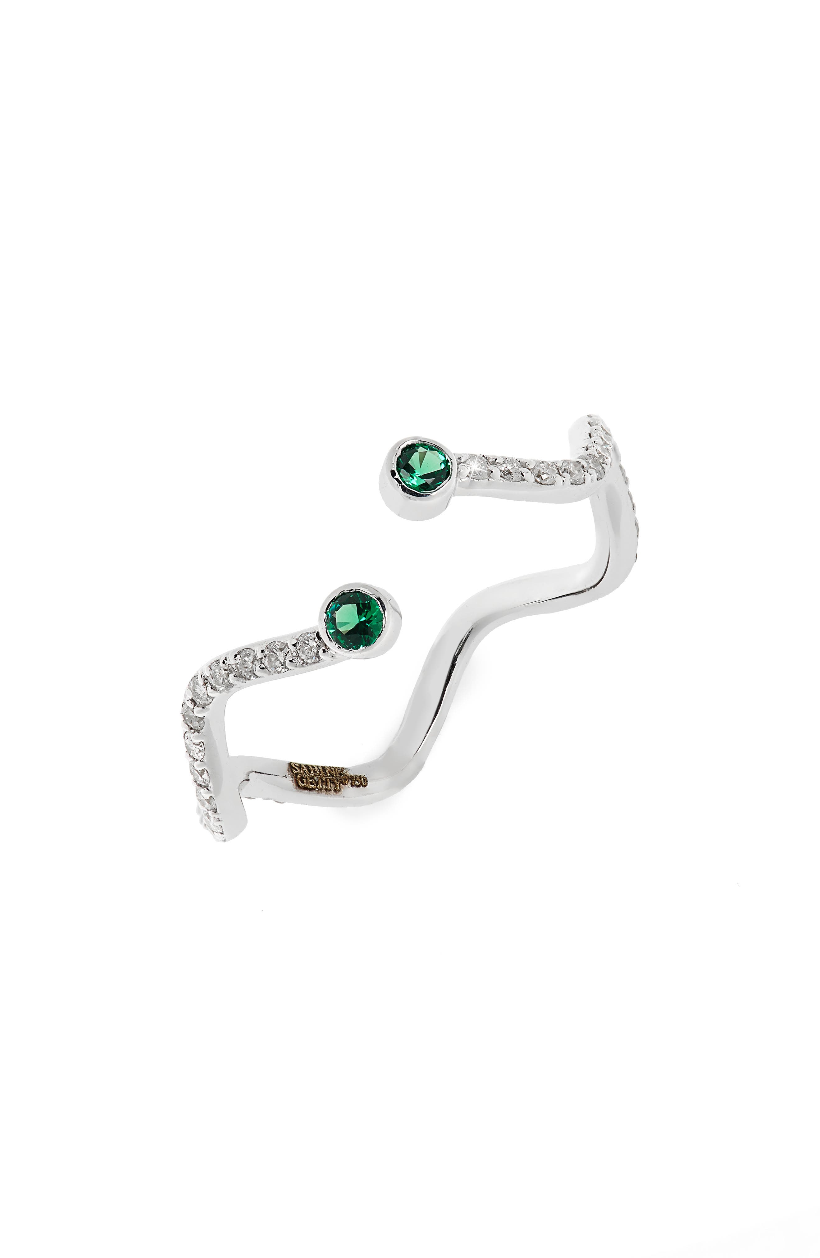 Baby Memphis Wiggly Snake Ring,                         Main,                         color, White Gold Diamond