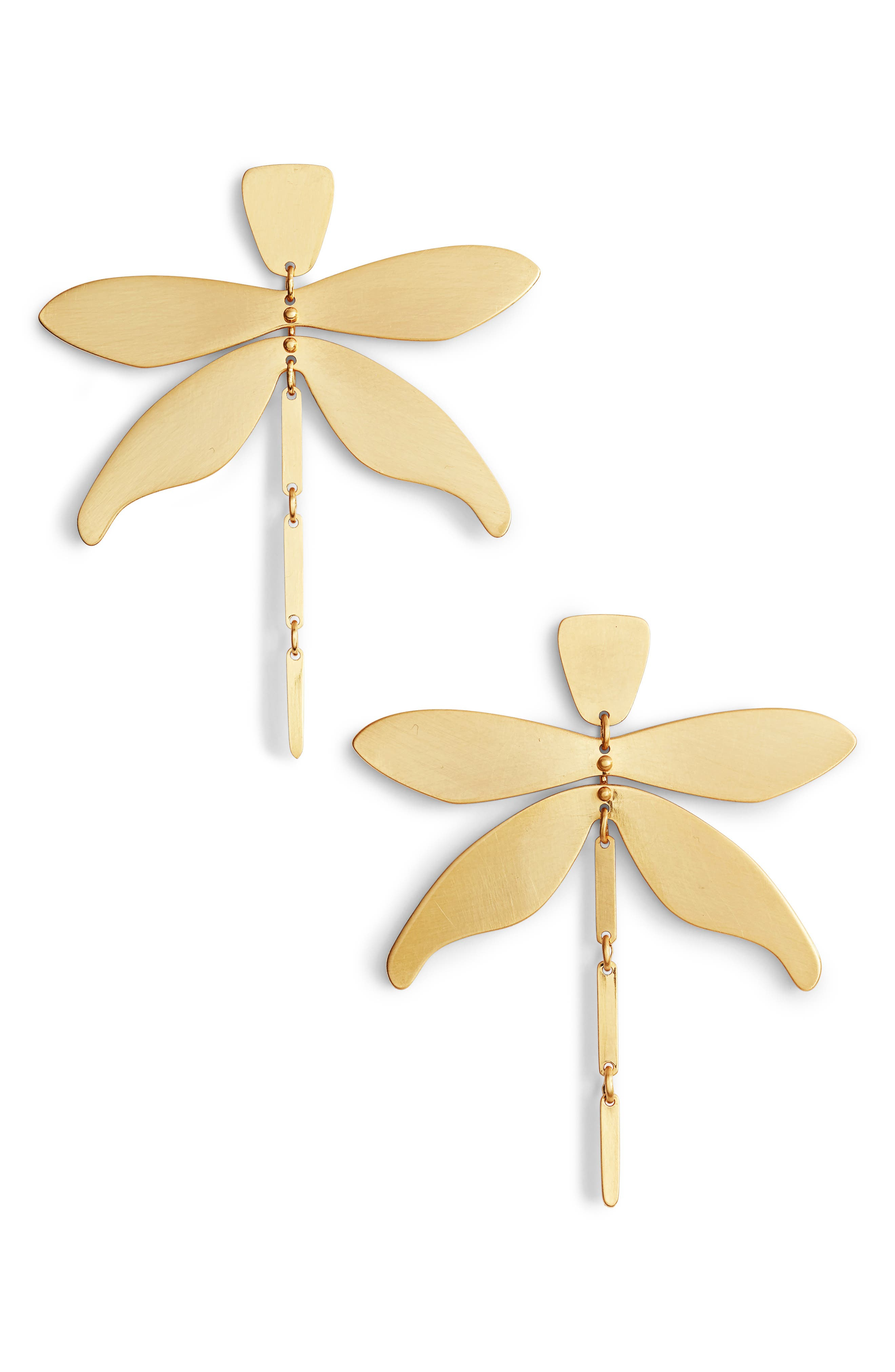 Articulated Dragonfly Earrings,                         Main,                         color, Brass