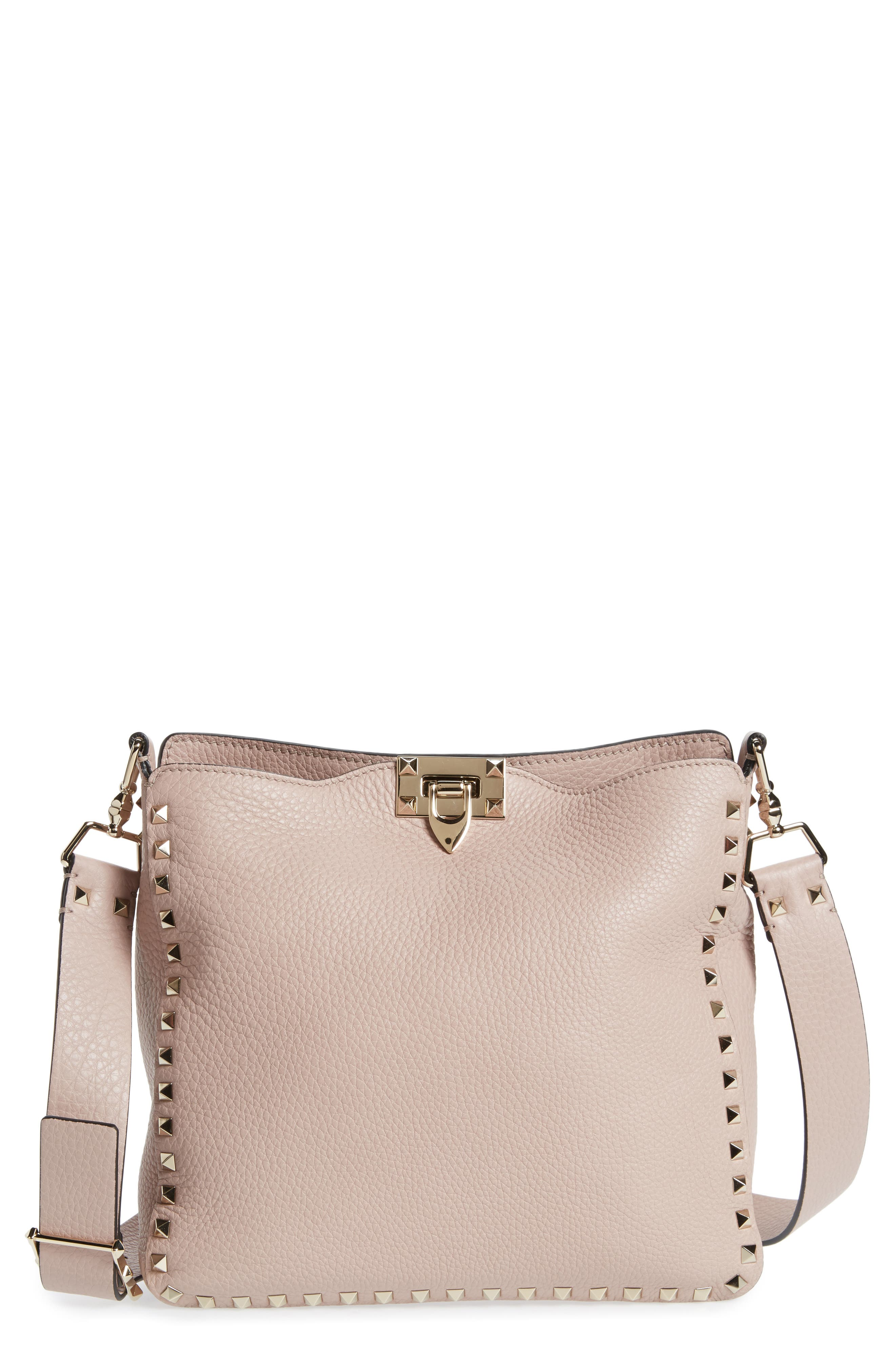 Small Rockstud Leather Hobo,                             Main thumbnail 1, color,                             Poudre