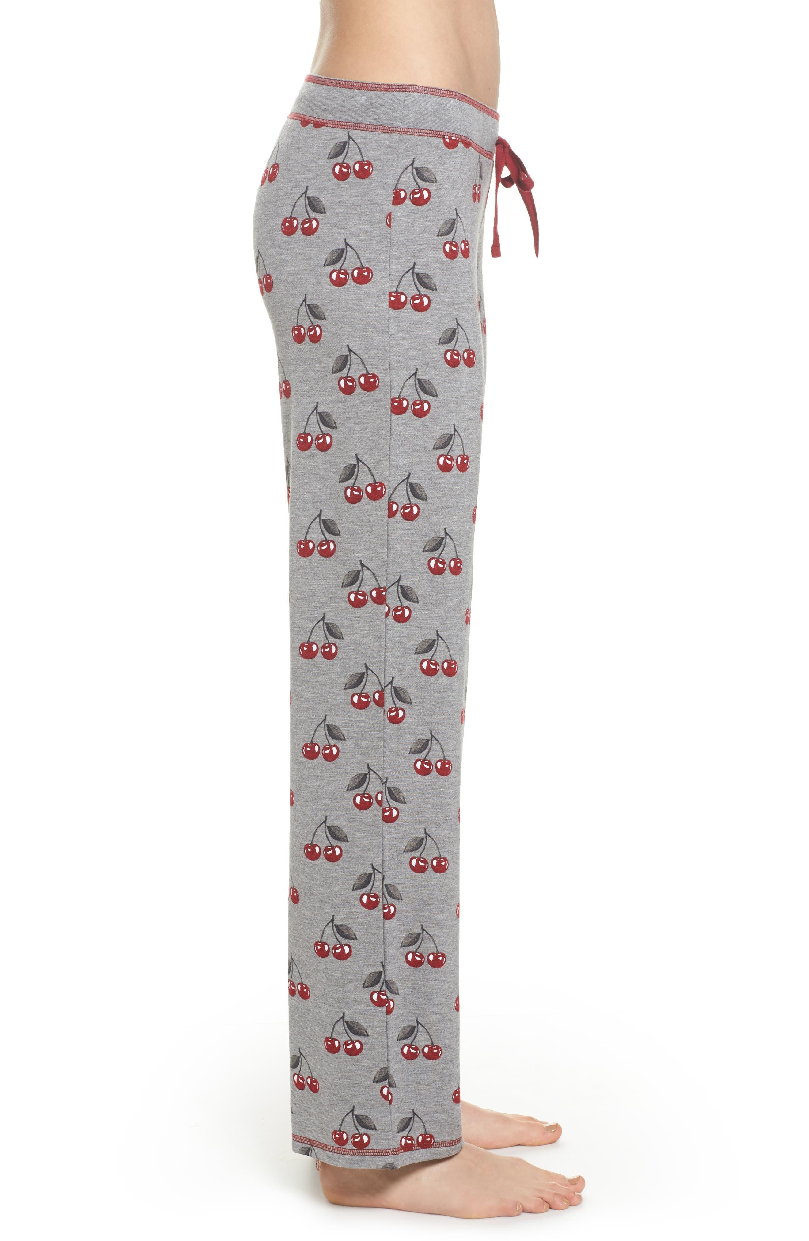 Print Pajama Pants,                             Alternate thumbnail 3, color,                             Heather Grey