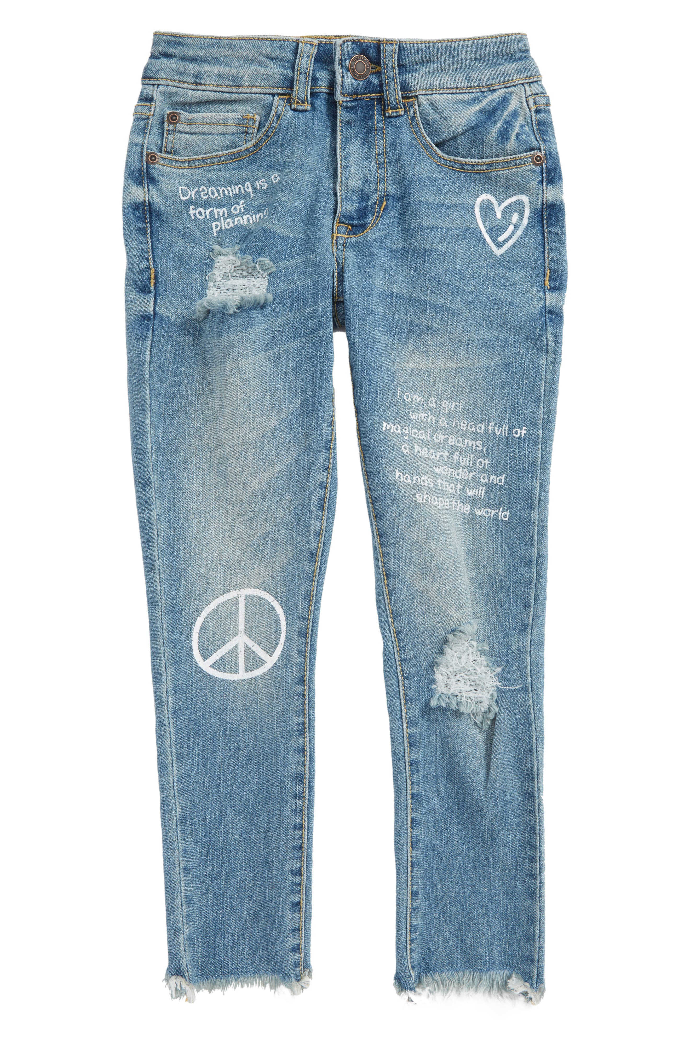 Conversational Distressed Skinny Jeans,                             Main thumbnail 1, color,                             Blur Wash