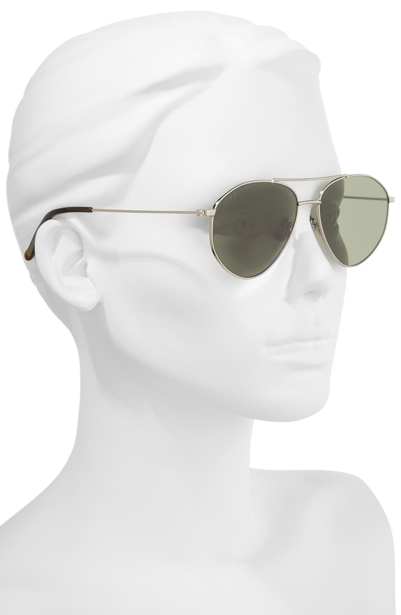 Scout 53mm Aviator Sunglasses,                             Alternate thumbnail 2, color,                             Light Gunmetal/ Green