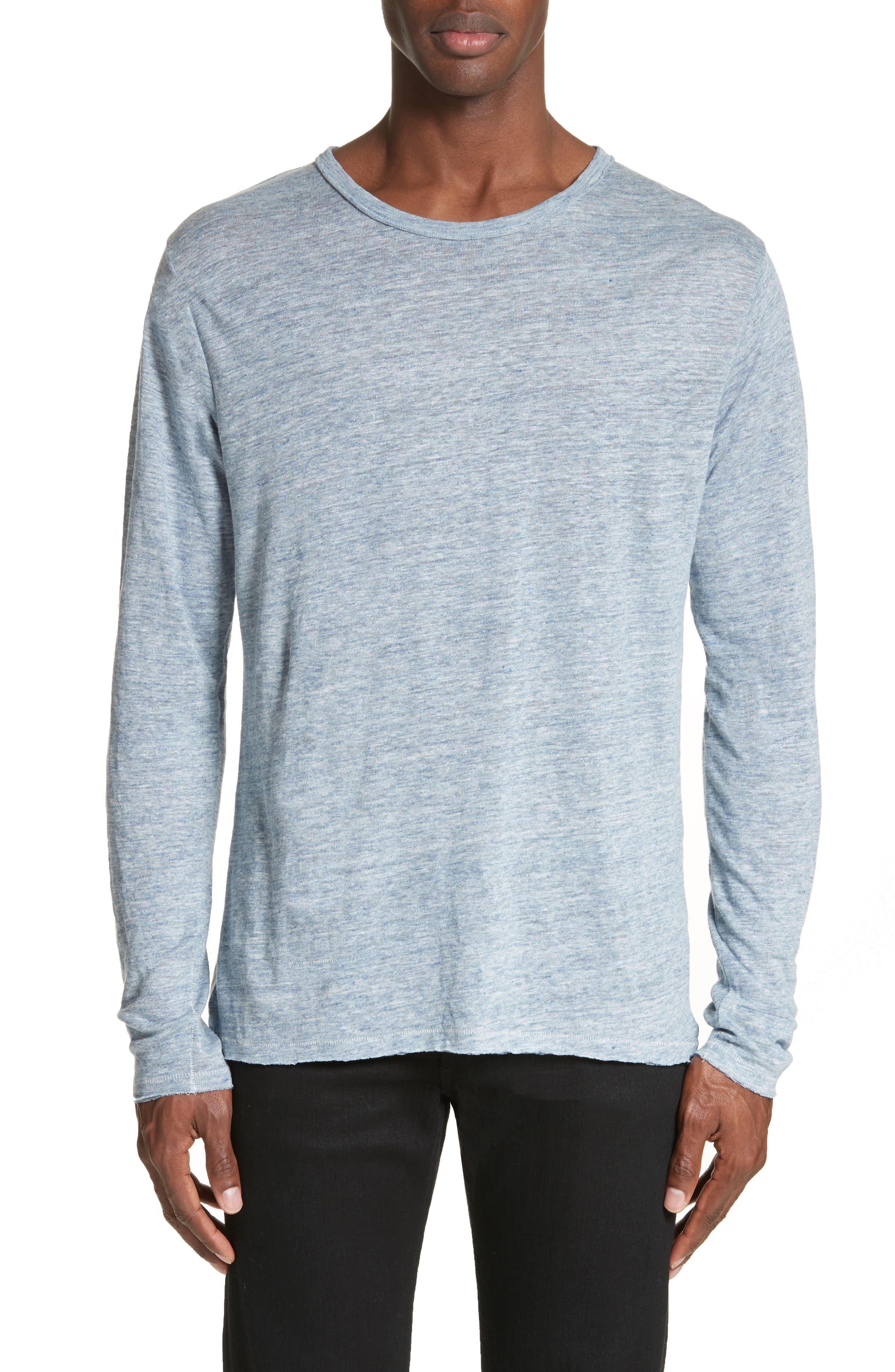 Owen Linen Long Sleeve T-Shirt,                         Main,                         color, Blue