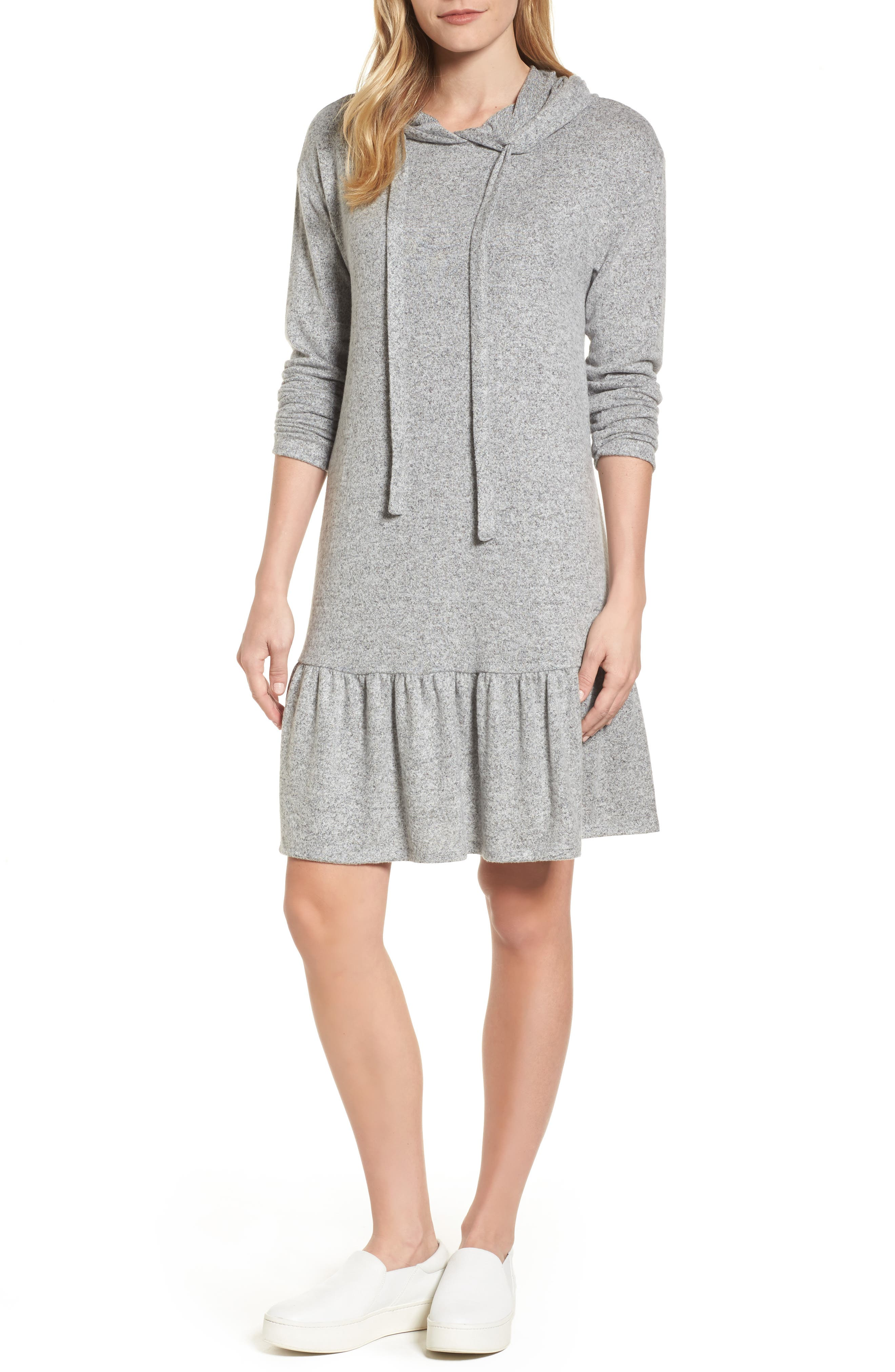 Caslon® Drop Waist Hooded Dress (Regular & Petite)