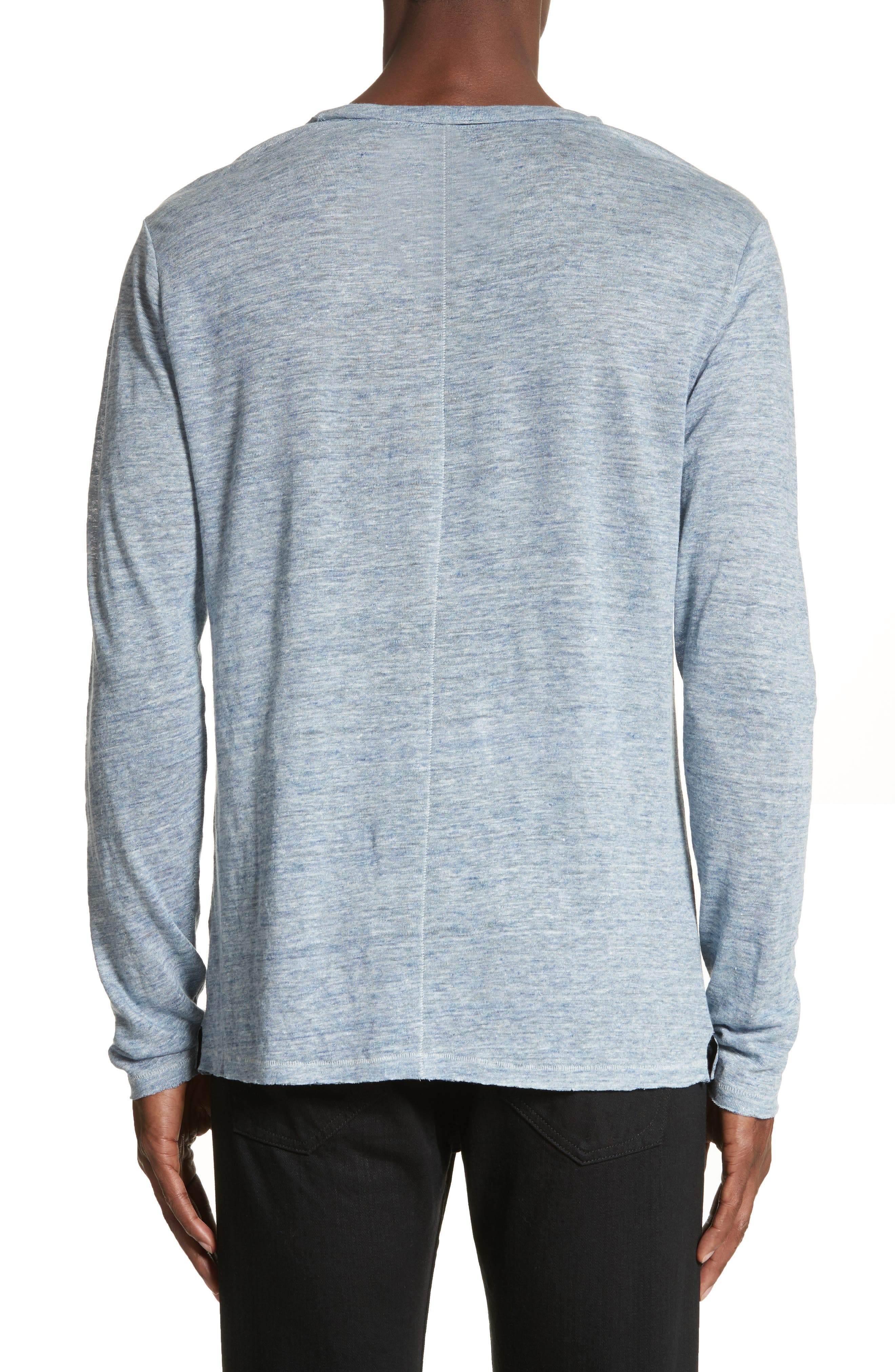 Owen Linen Long Sleeve T-Shirt,                             Alternate thumbnail 2, color,                             Blue