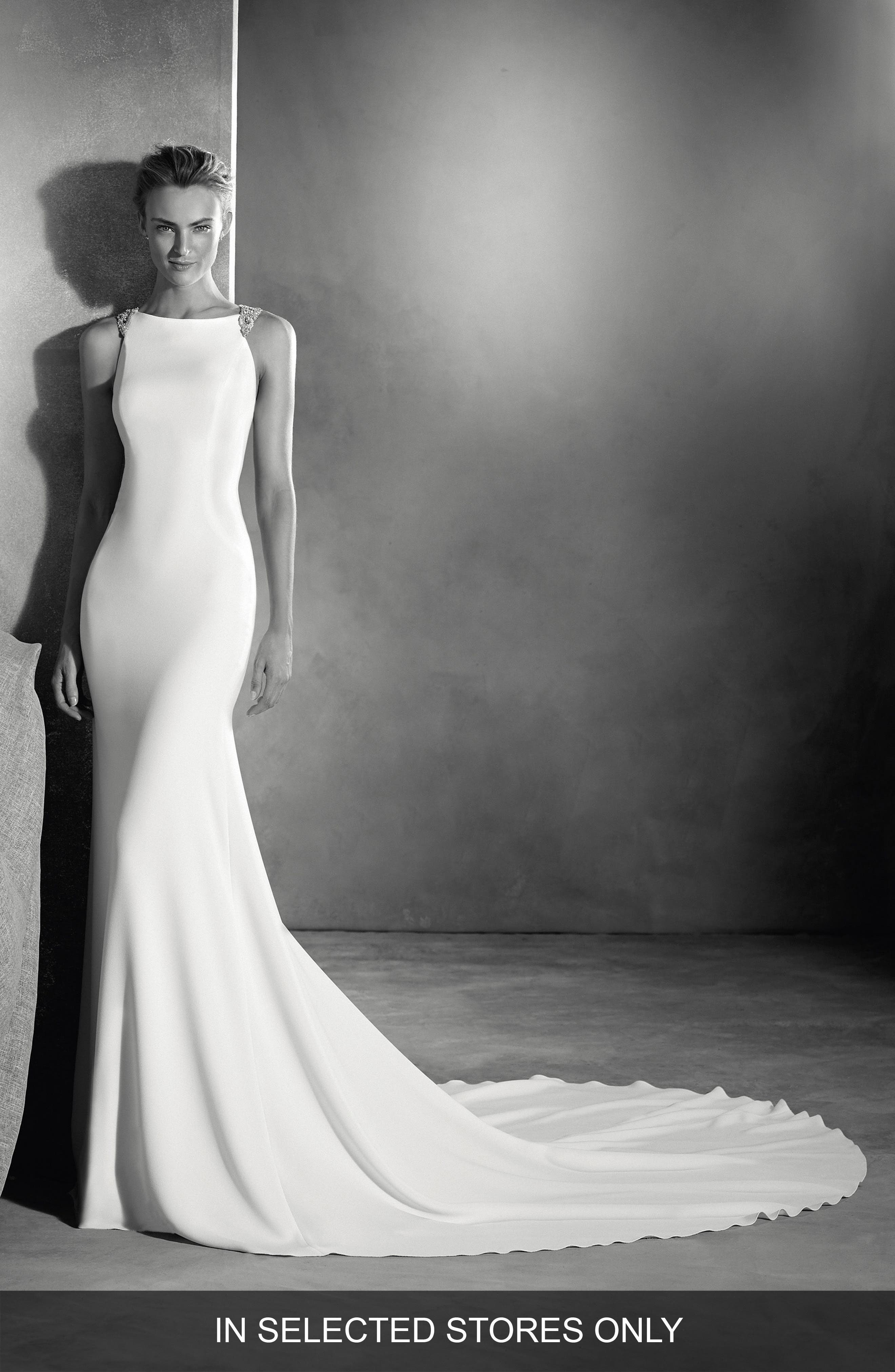 Emmett Embellished Open Back Crepe Mermaid Gown,                         Main,                         color, Off White