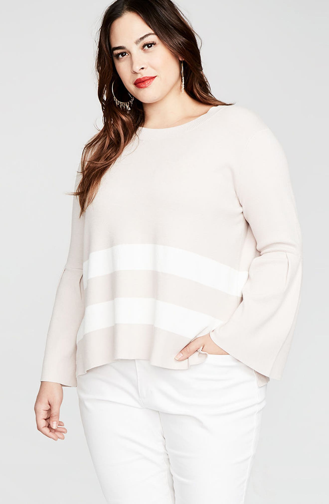 Bow Back Stripe Top,                             Alternate thumbnail 3, color,                             Blush/ Eggshell