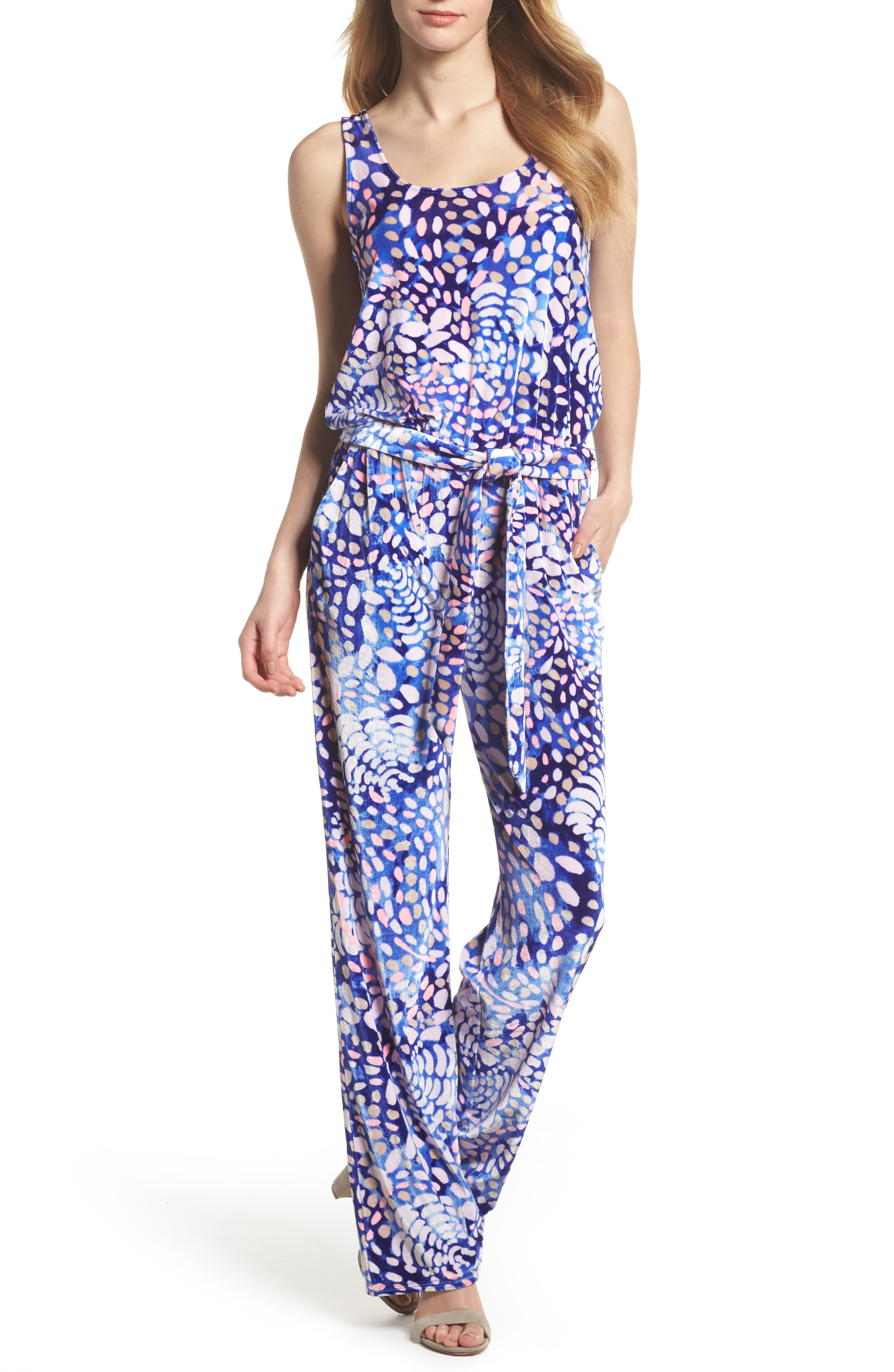 Nena Velour Jumpsuit,                         Main,                         color, Beckon Blue Sparkling Grotto