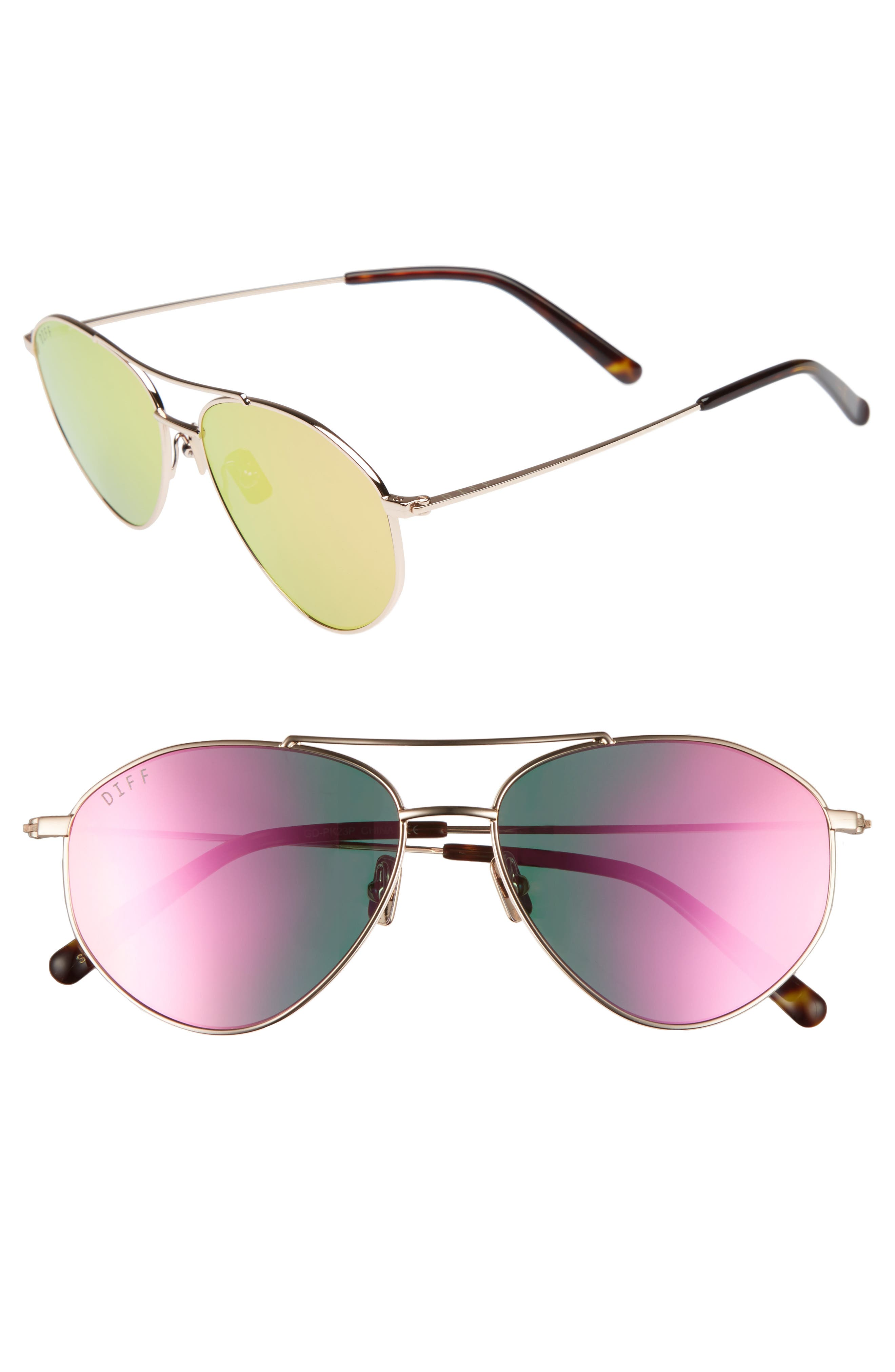 Scout 53mm Aviator Sunglasses,                         Main,                         color, Gold/ Pink