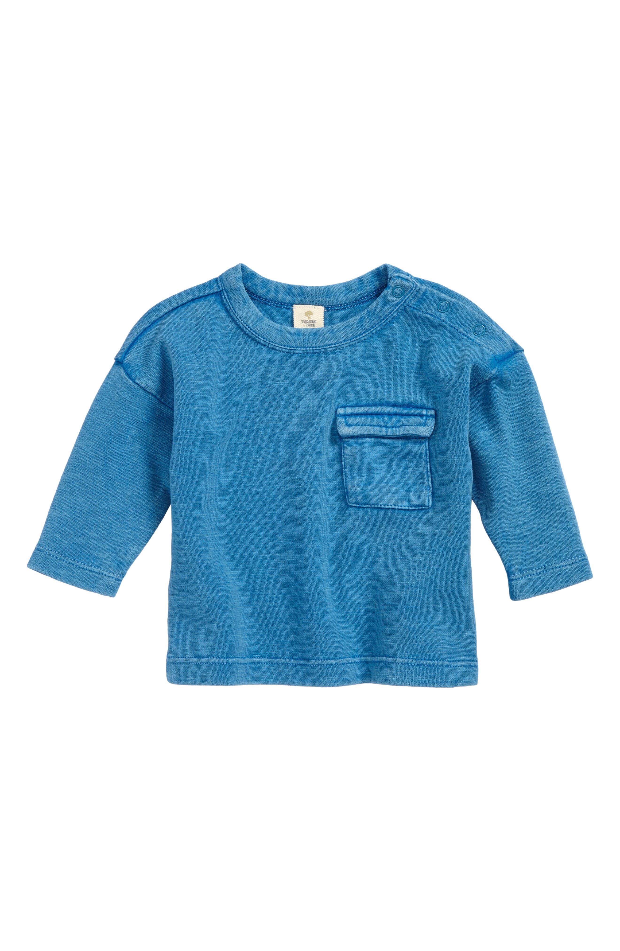 Drop Shoulder T-Shirt,                         Main,                         color, Blue Cendre