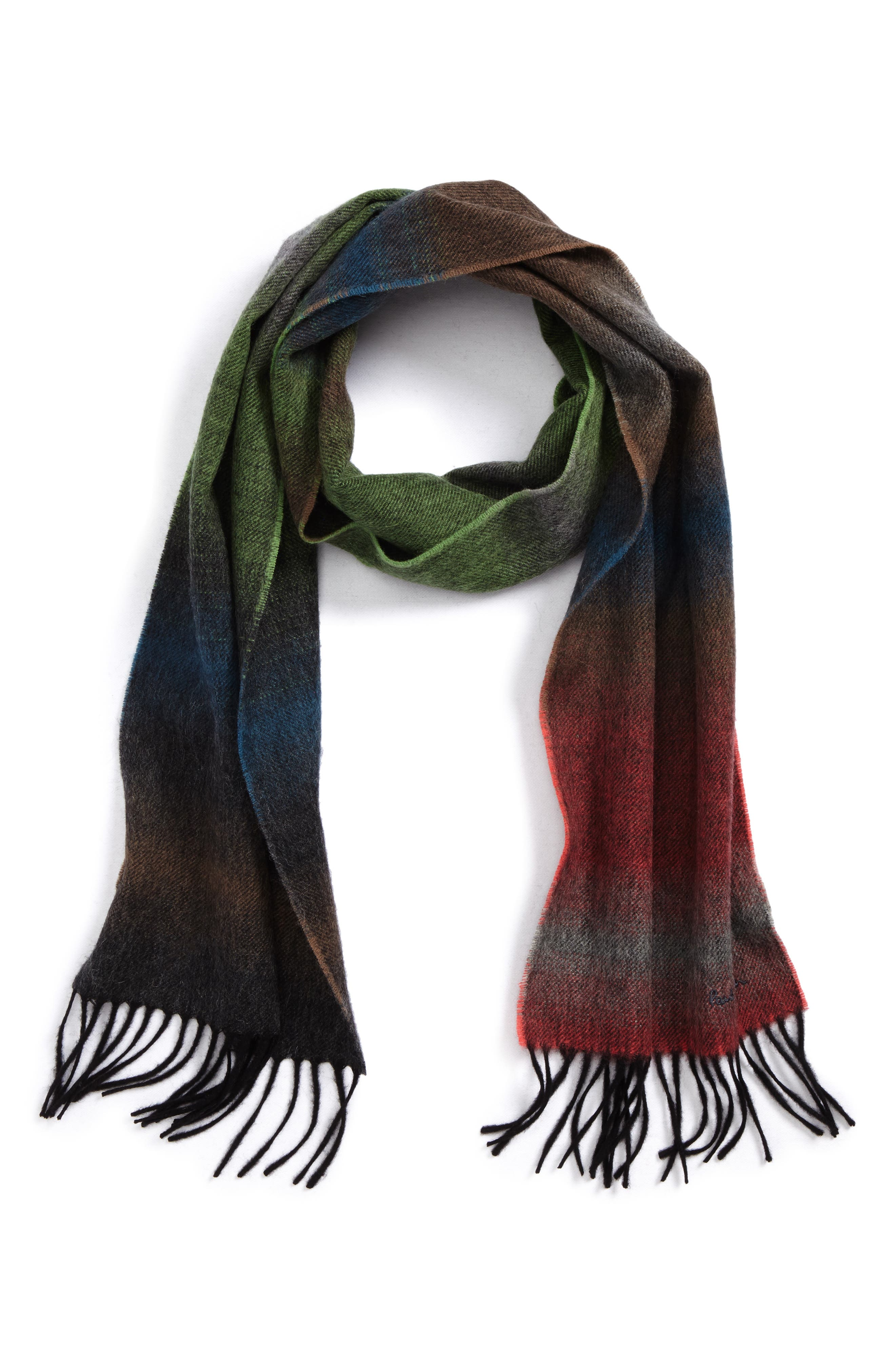 Fade Stripe Wool & Cashmere Scarf,                             Main thumbnail 1, color,                             Bottle Green
