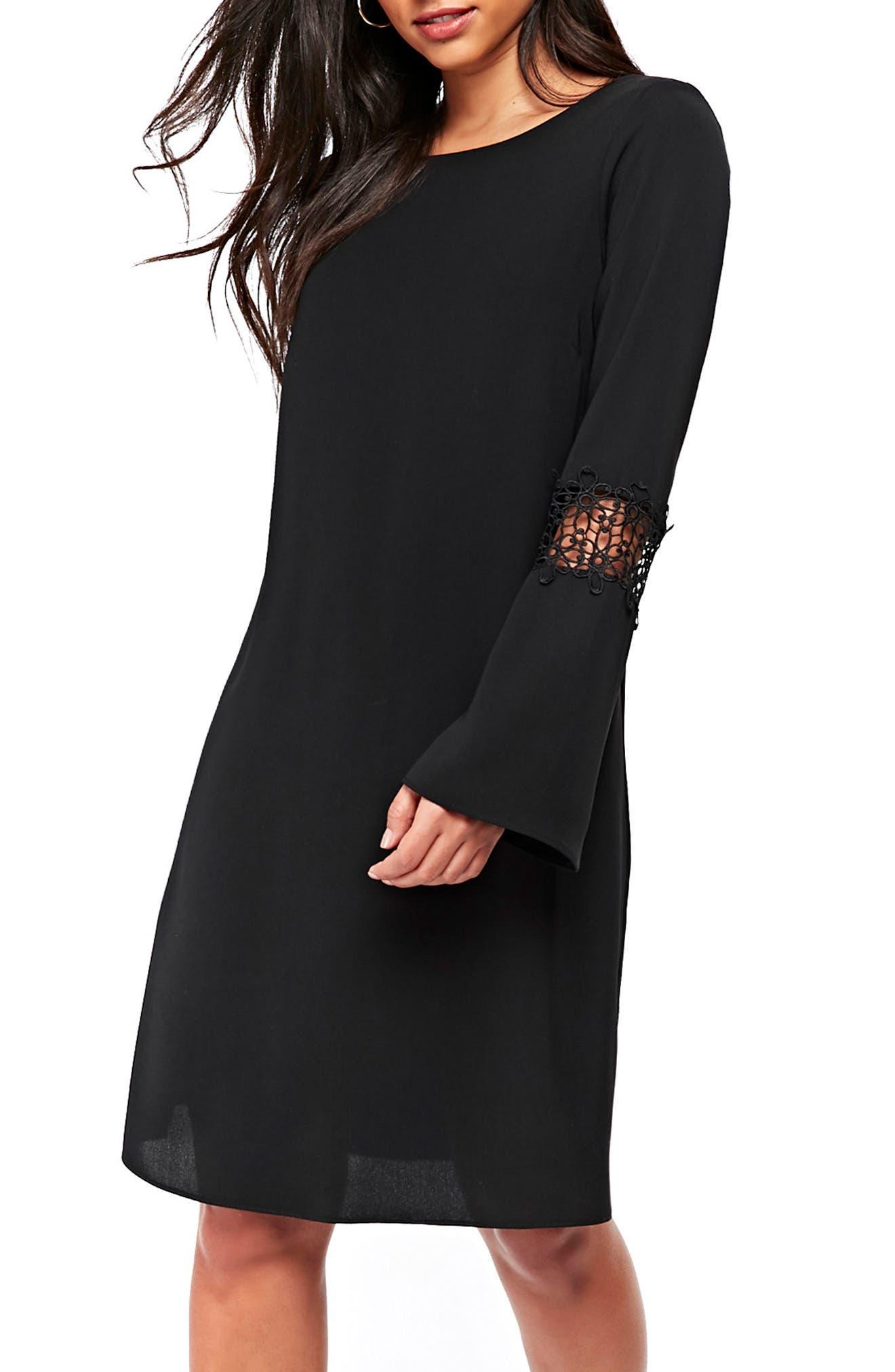 Crochet Inset Shift Dress,                         Main,                         color, Black