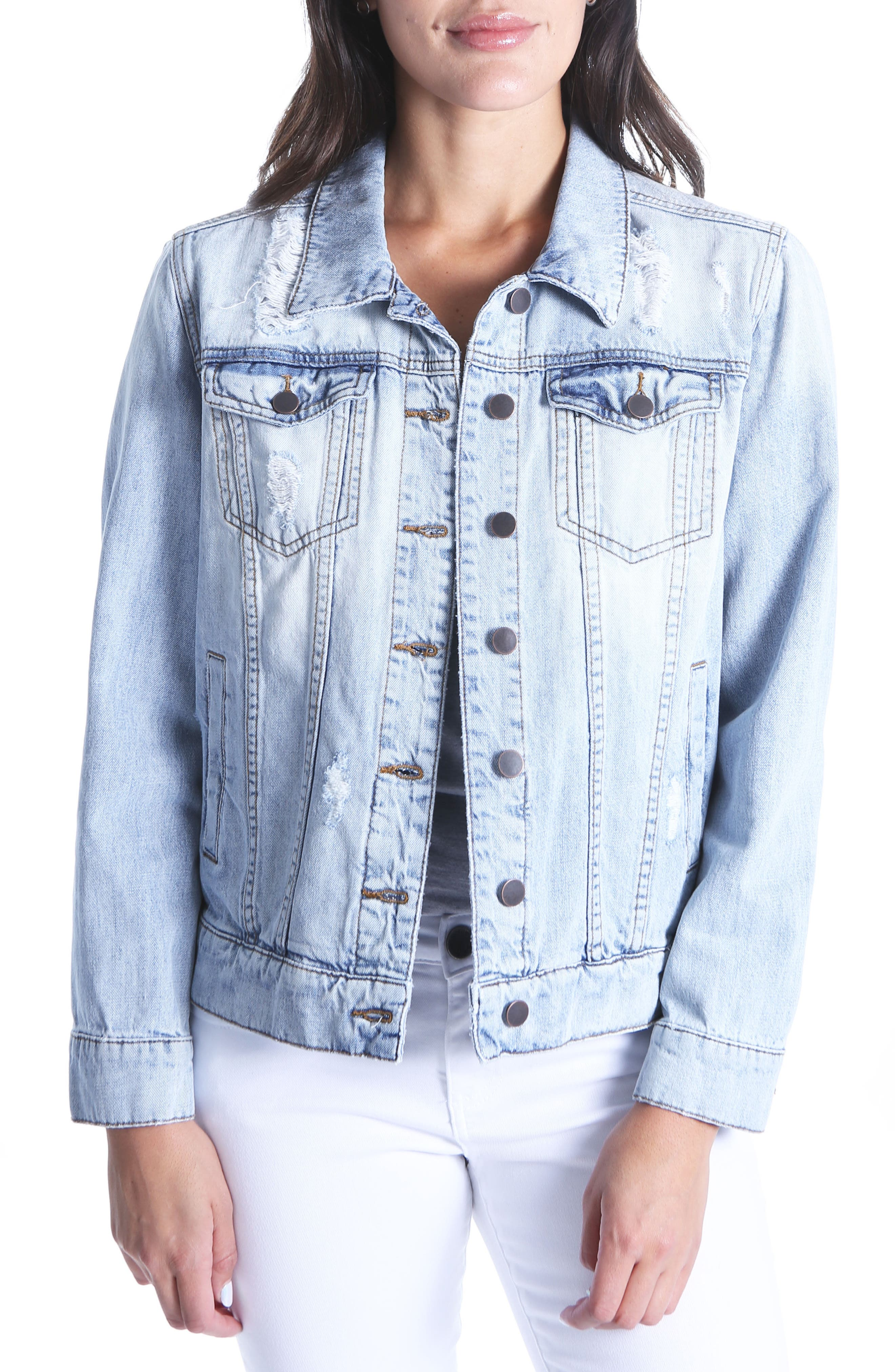 KUT From the Koth Emma Distressed Denim Jacket,                             Main thumbnail 1, color,                             Esteemed