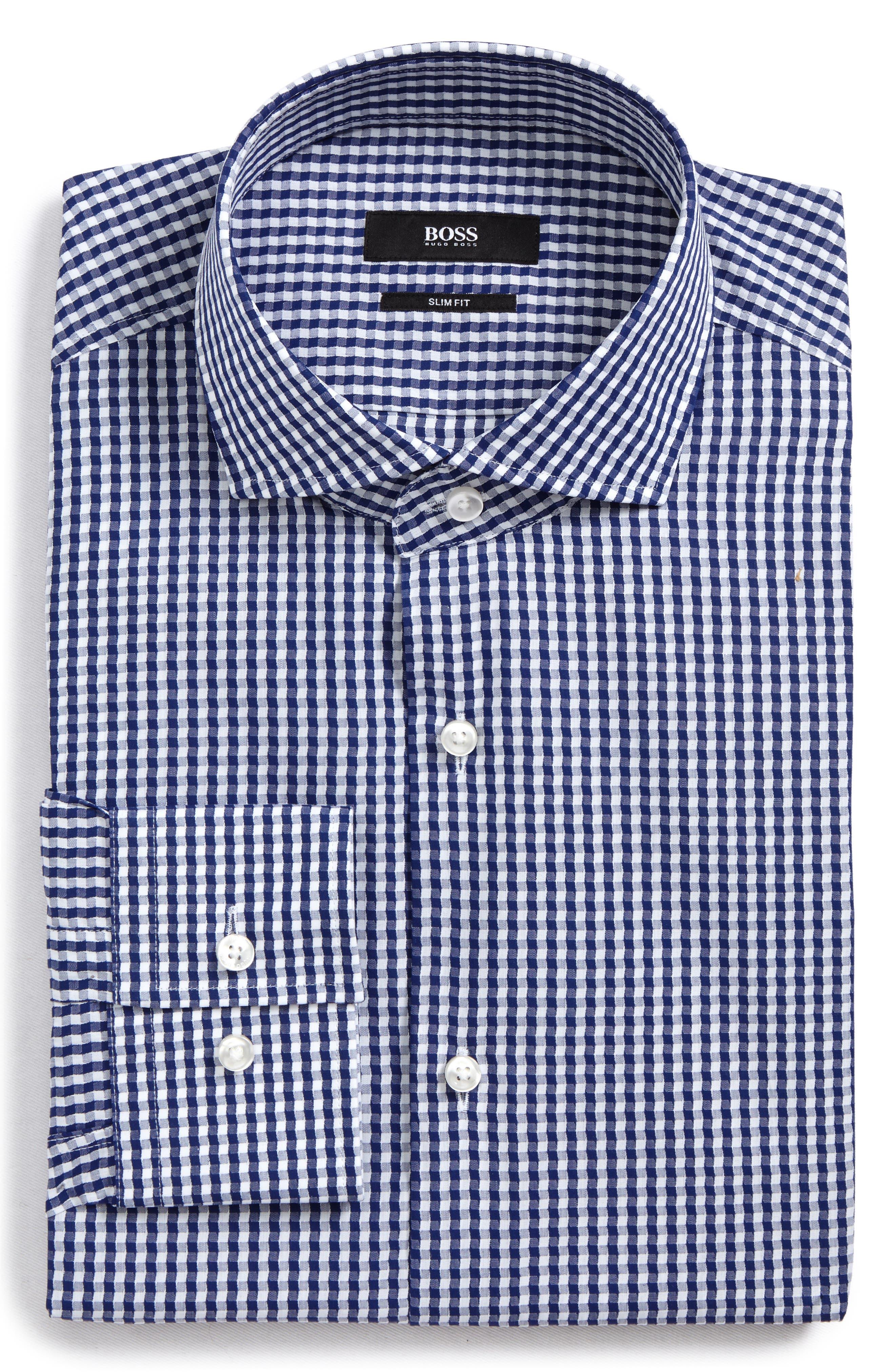 Jason Slim Fit Check Dress Shirt,                         Main,                         color, Navy