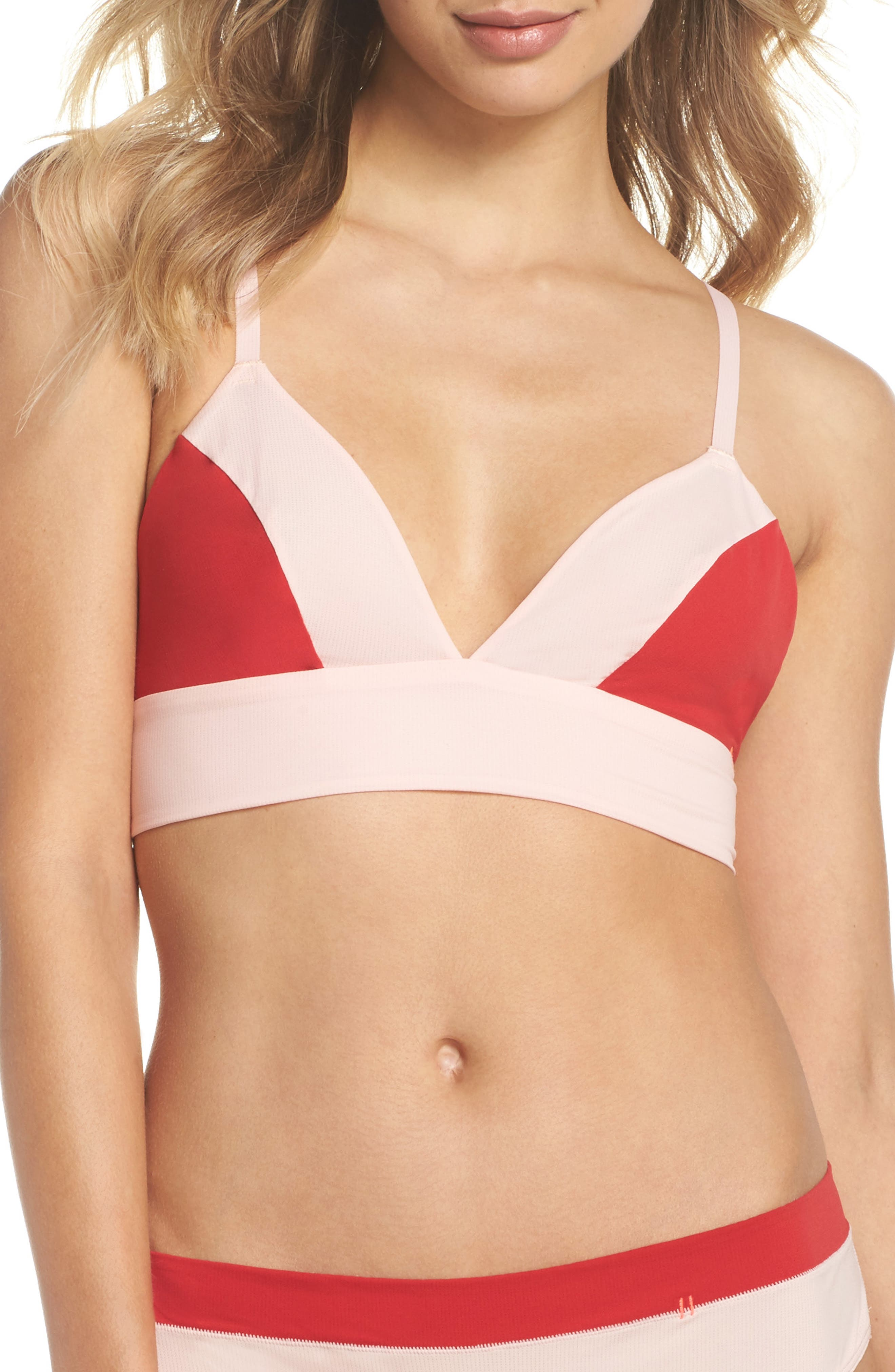 Not Tonight Triangle Bralette,                         Main,                         color, Pink