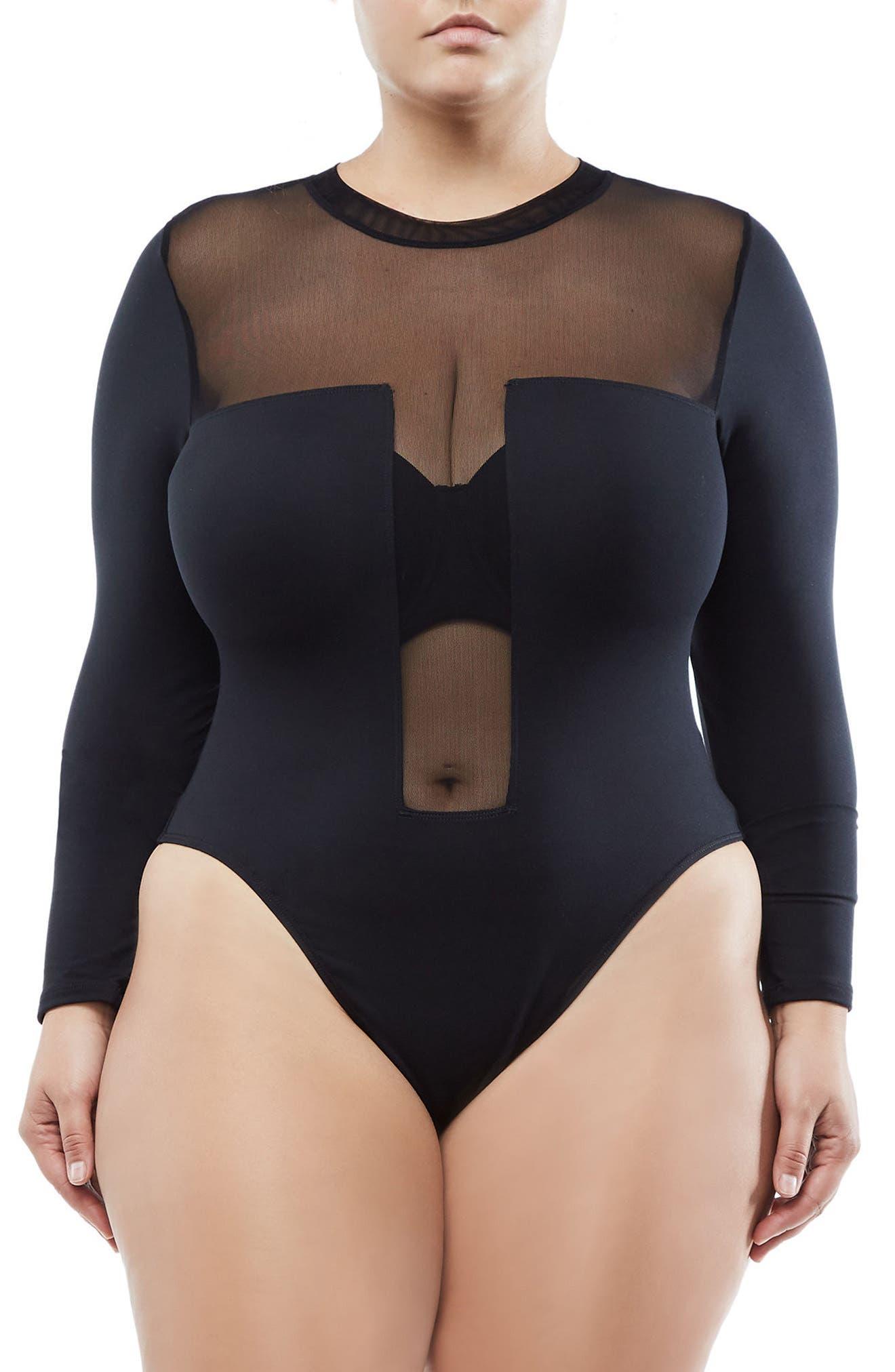 Mixed Mesh Bodysuit,                             Alternate thumbnail 2, color,                             Black