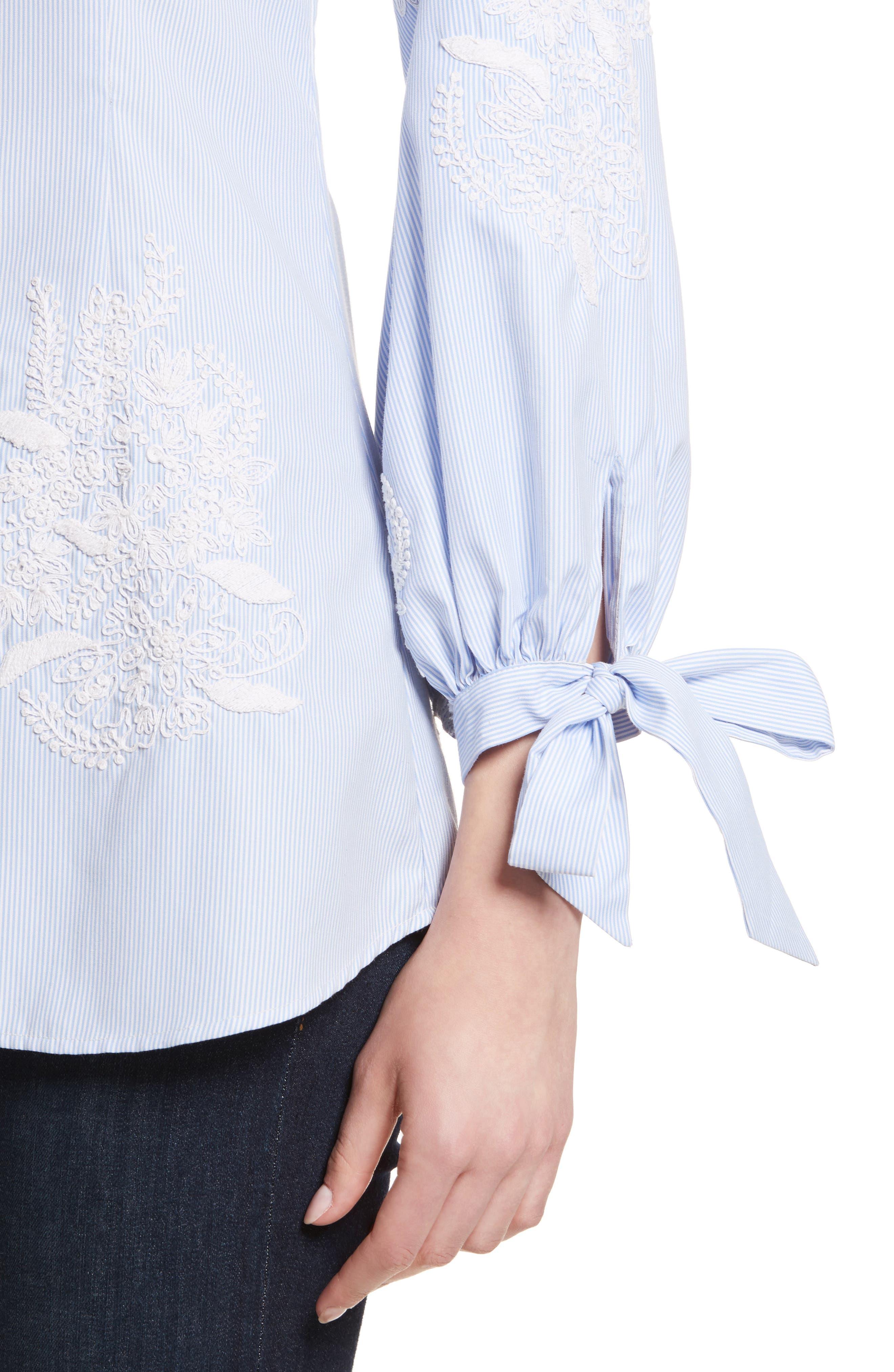 Alternate Image 4  - Alice + Olivia Toro Embroidered Tie Sleeve Blouse
