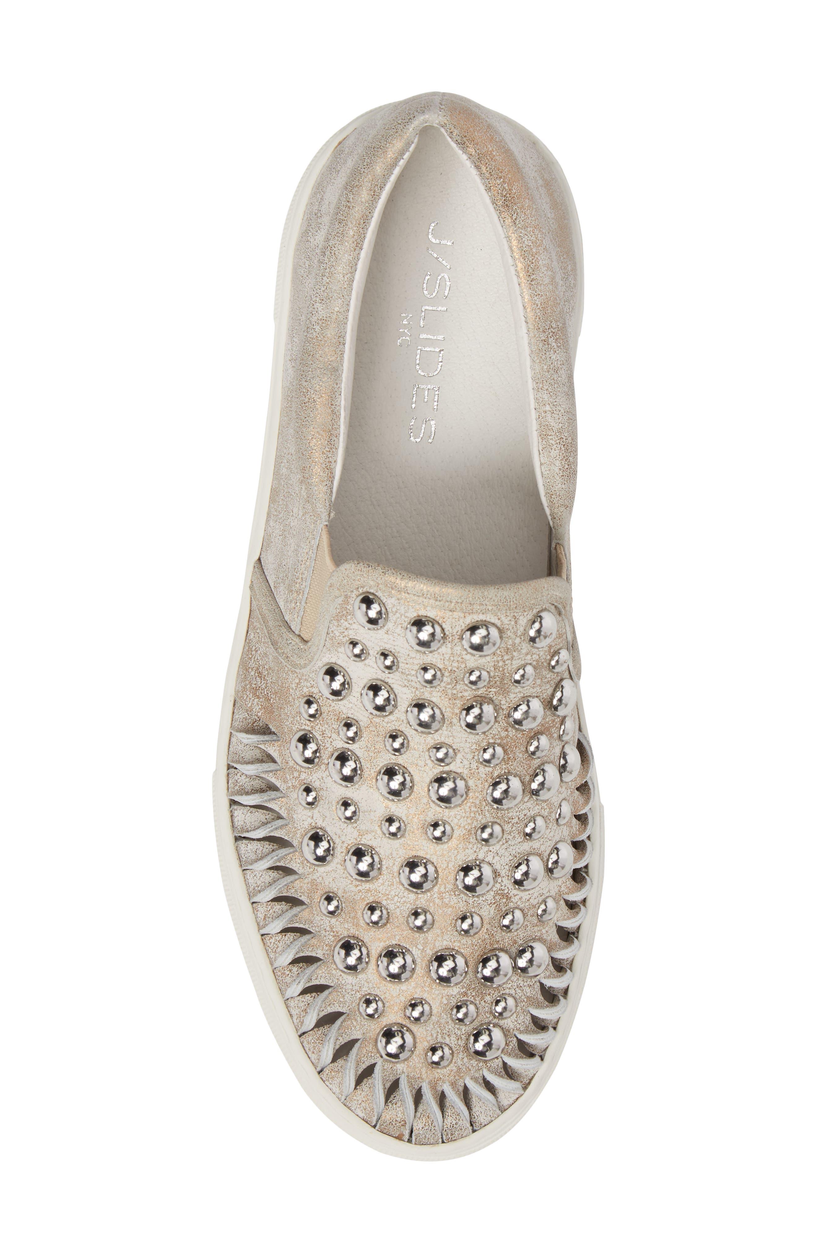 AZT Studded Slip-On Sneaker,                             Alternate thumbnail 5, color,                             Bronze Leather