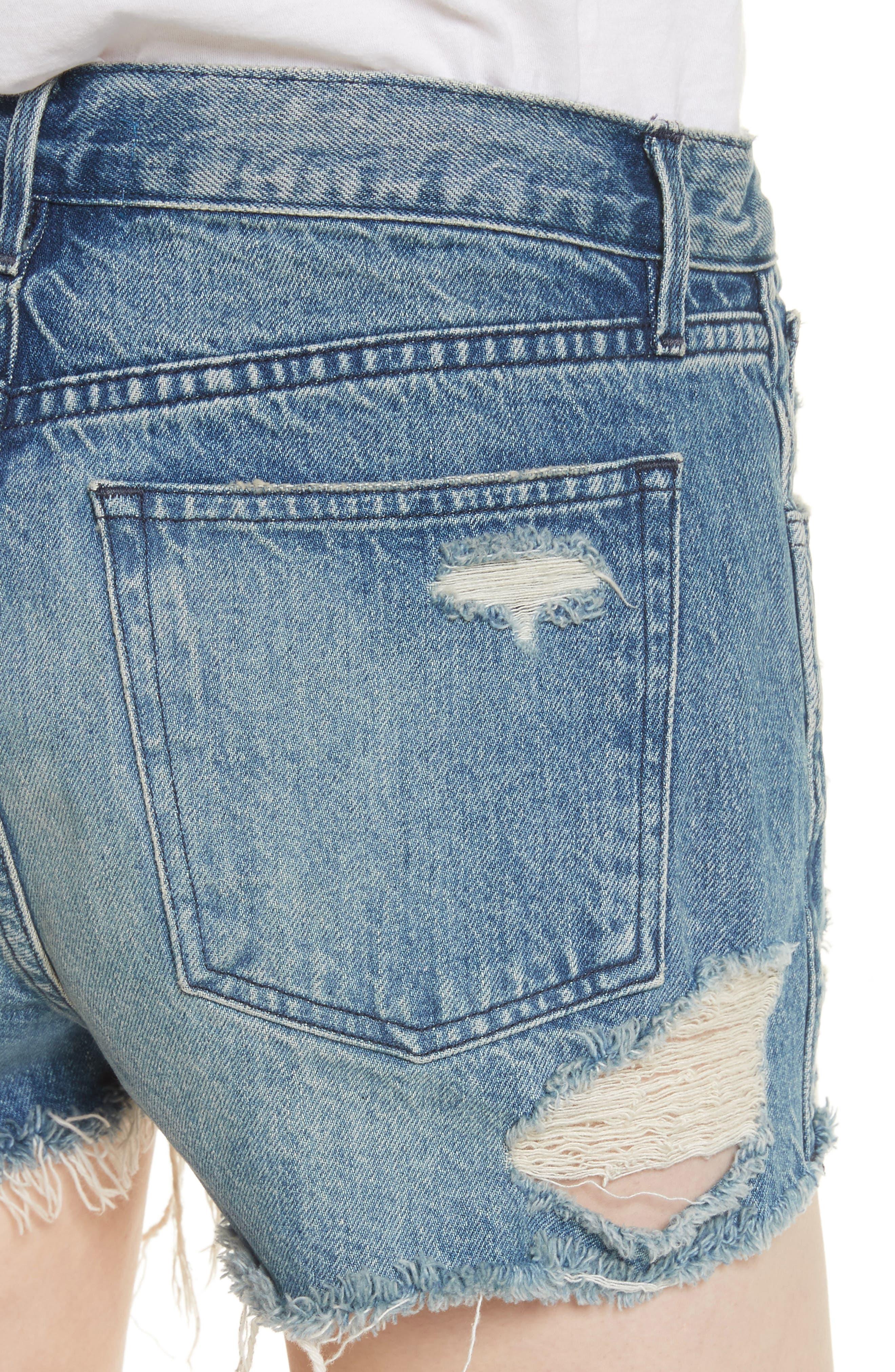 W4 Carter Ripped High Waist Denim Shorts,                             Alternate thumbnail 4, color,                             Elmar