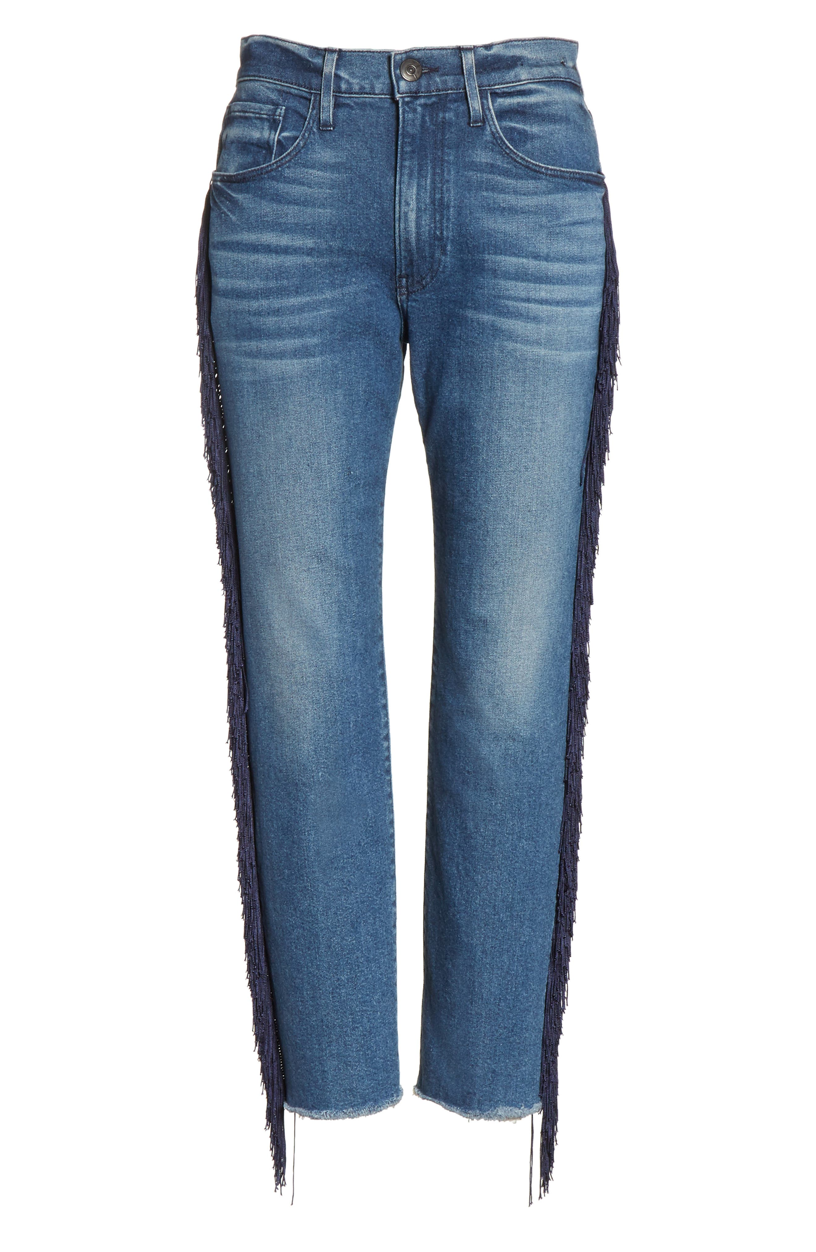 W3 Higher Ground Fringe Crop Straight Leg Jeans,                             Alternate thumbnail 7, color,                             Spanish Fringe