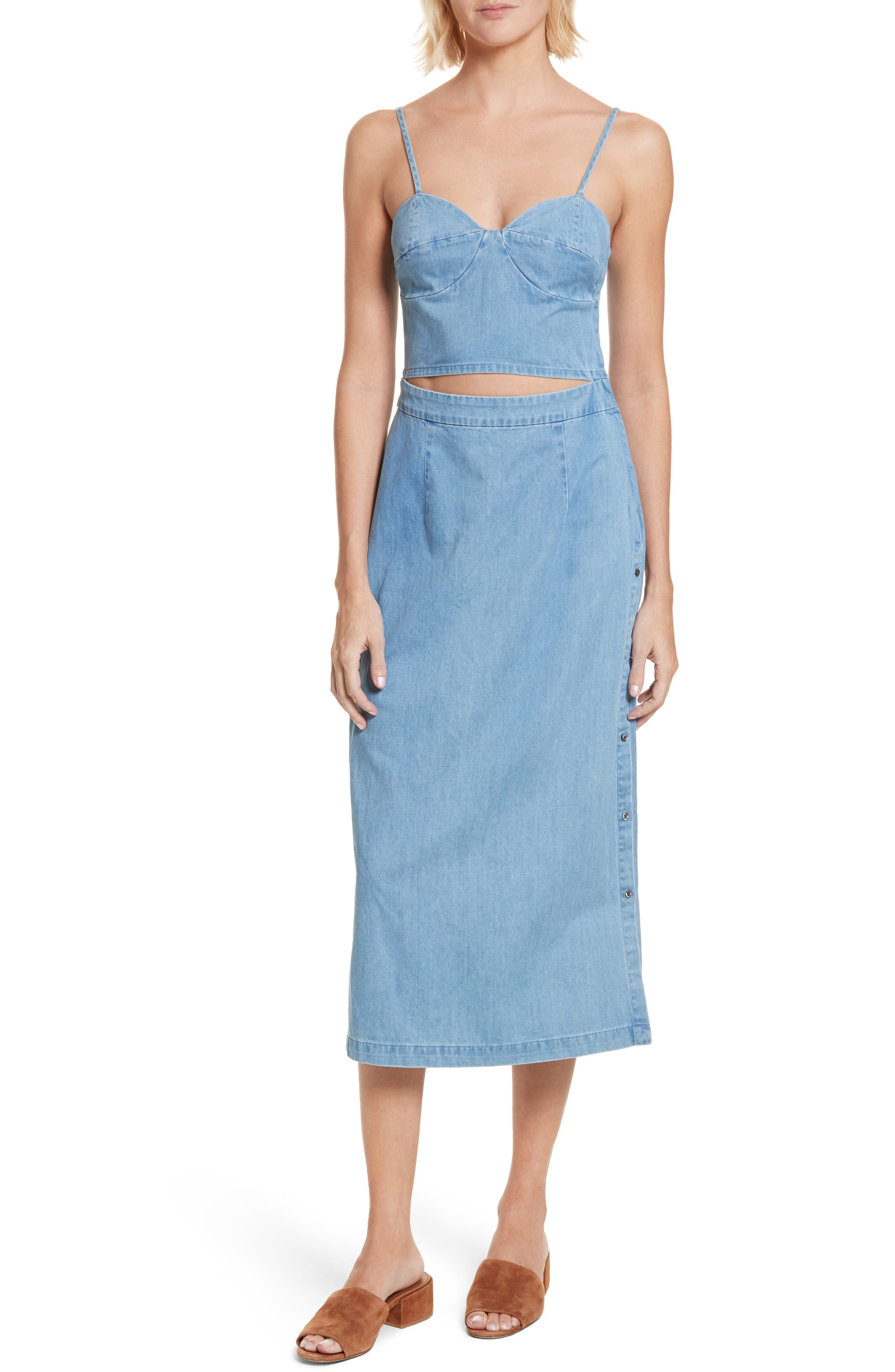 Peekaboo Chambray Midi Dress,                             Main thumbnail 1, color,                             Augustine