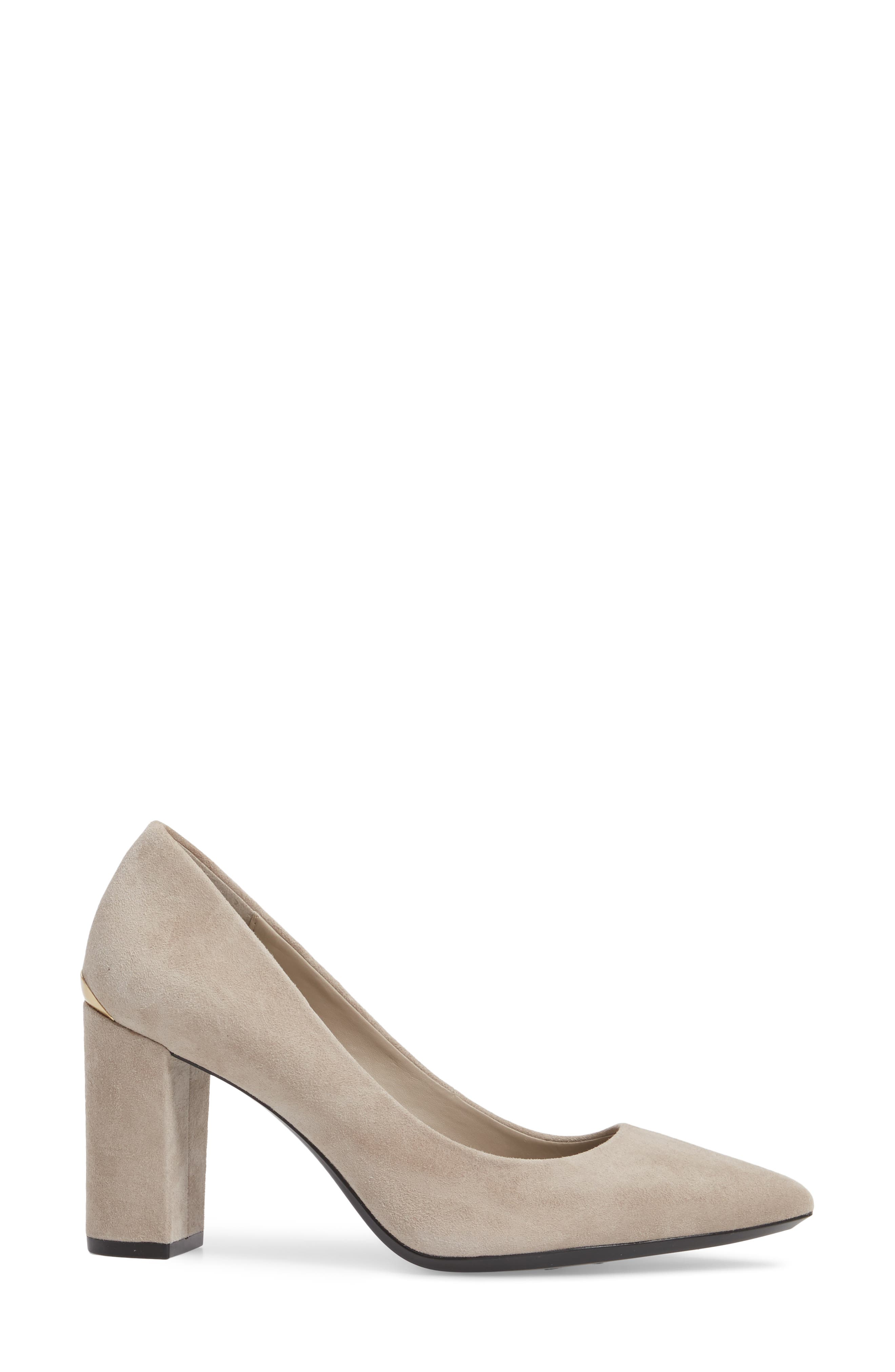 Eviti Pointy Toe Pump,                             Alternate thumbnail 3, color,                             Clay Suede