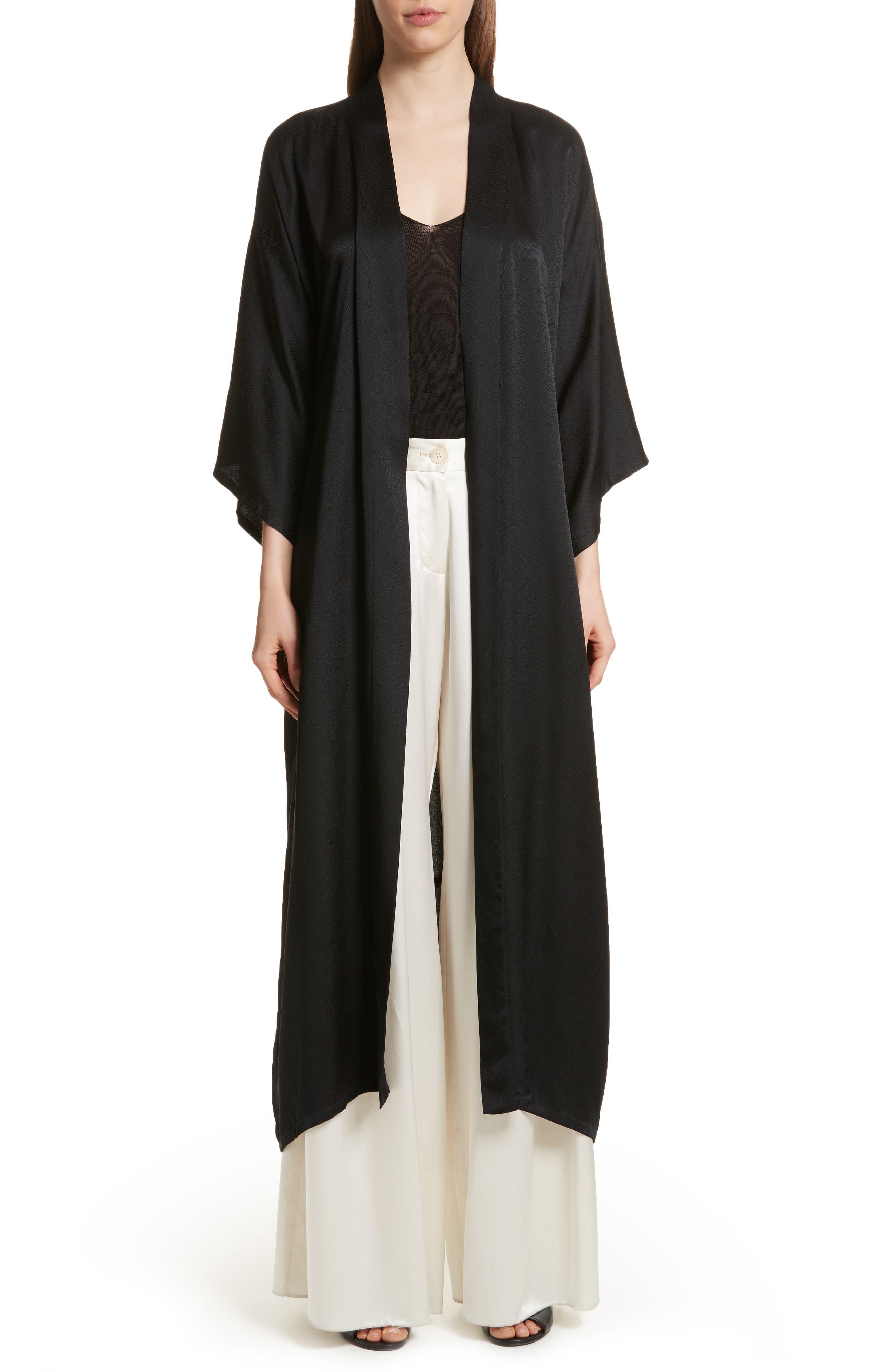 Maia Silk Kimono,                         Main,                         color, Black