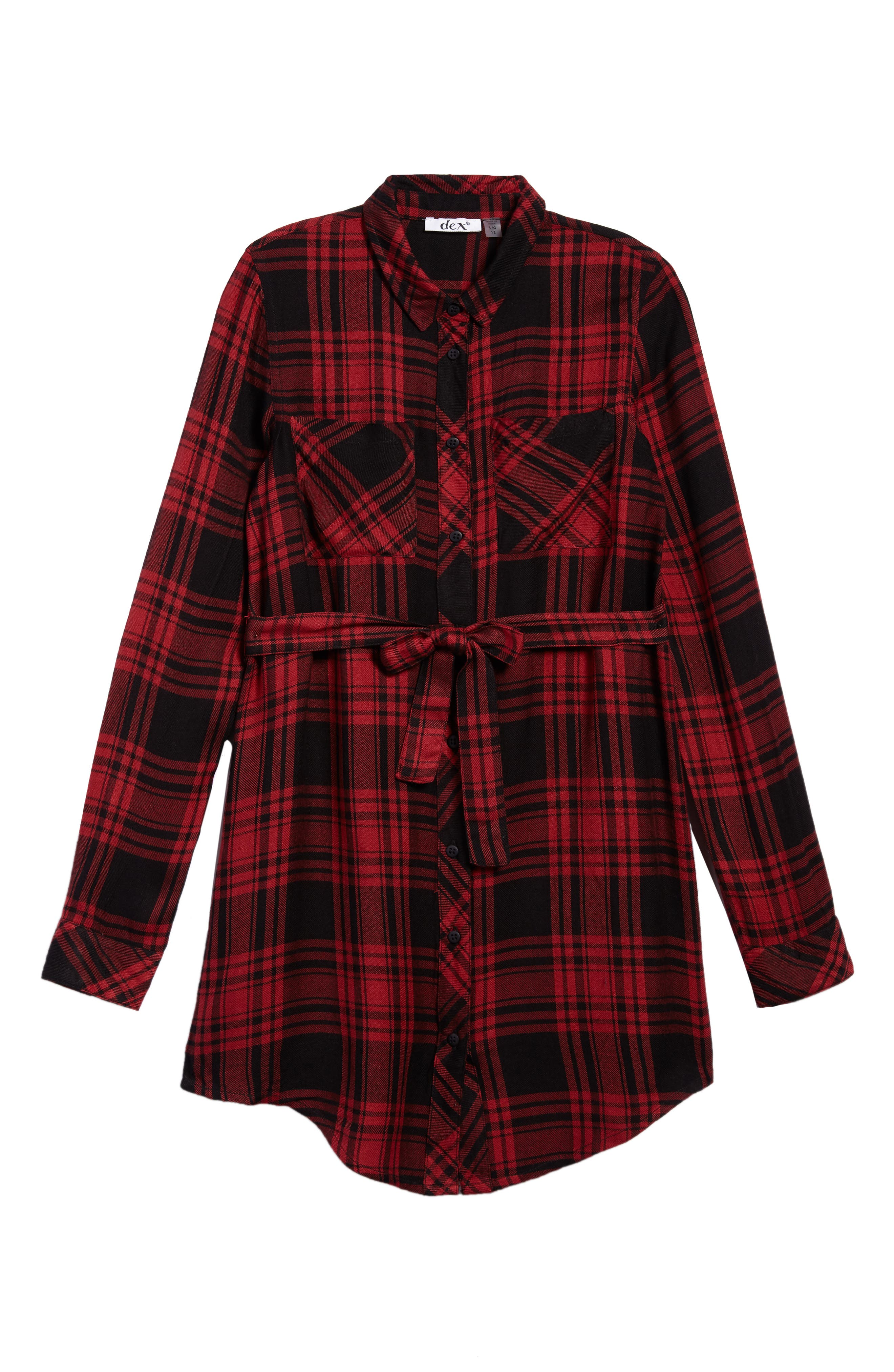 Main Image - DEX Belted Plaid Dress (Big Girls)