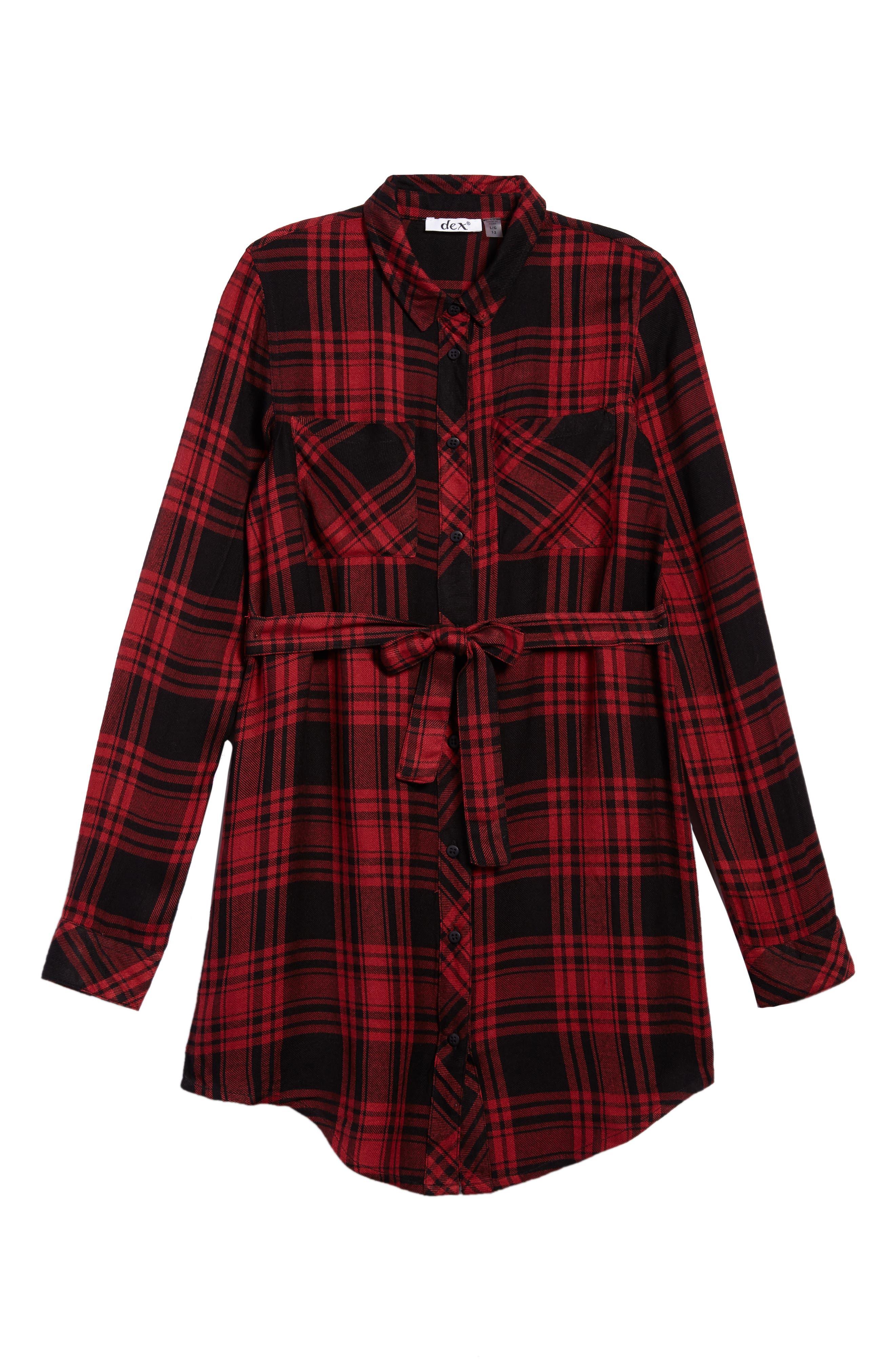 Belted Plaid Dress,                         Main,                         color, Scarlett Red/ Black Plaid