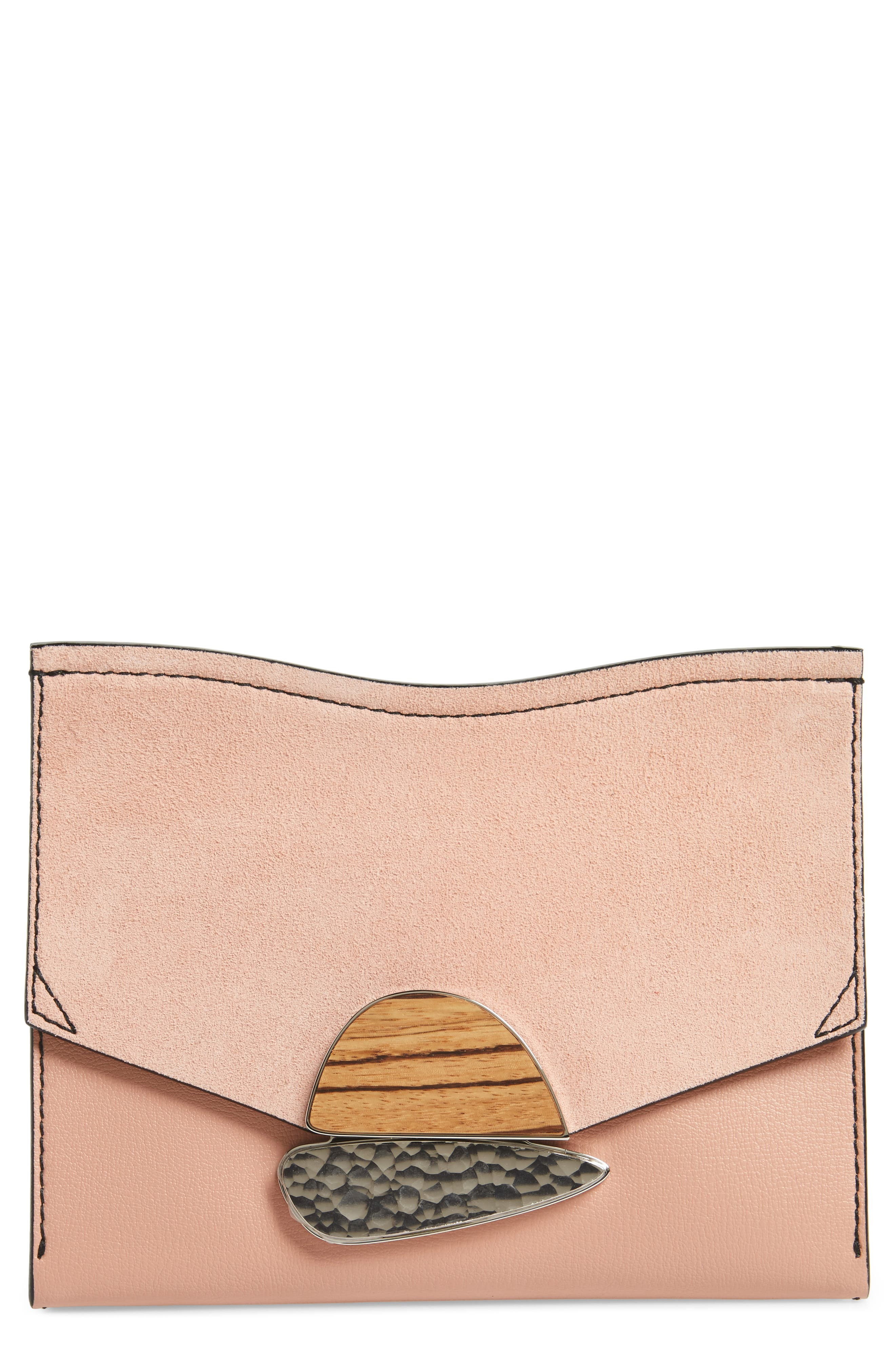 Small Calfskin Leather Clutch,                             Main thumbnail 1, color,                             Deep Blush