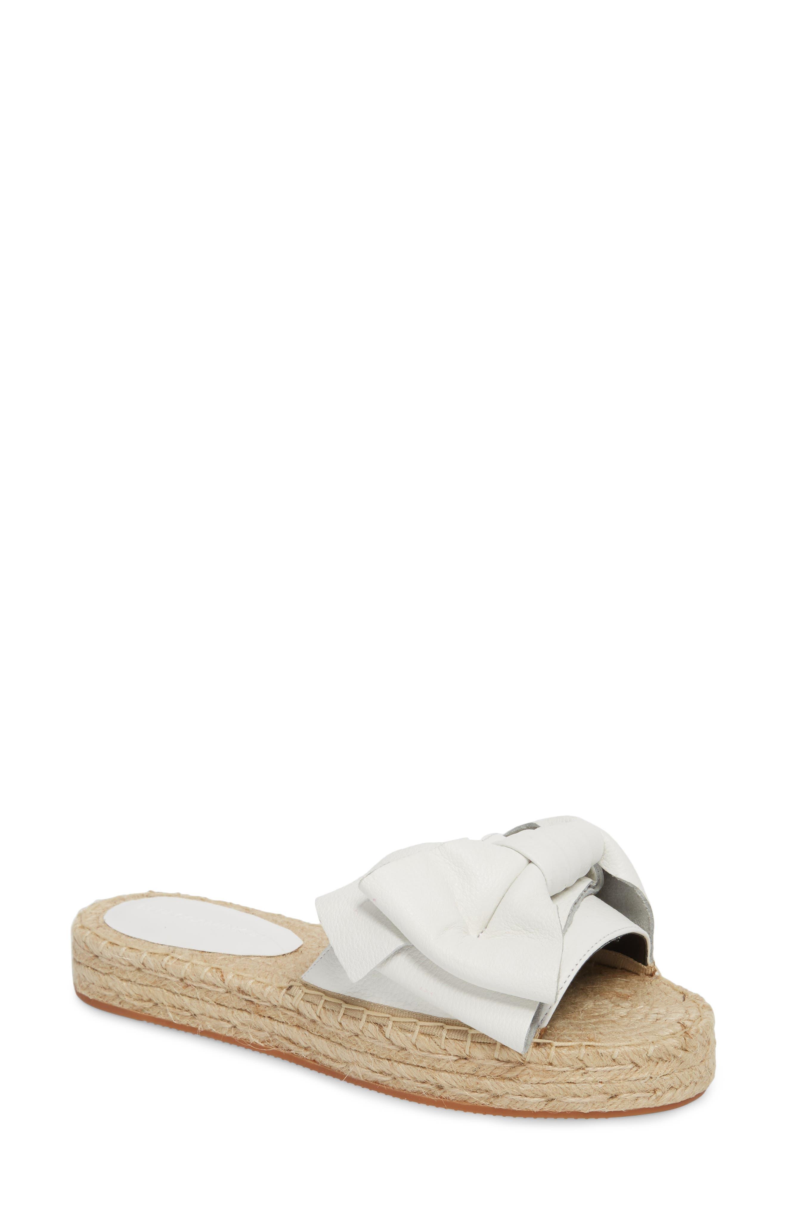 Giana Bow Slide Sandal,                             Main thumbnail 1, color,                             Optic White Leather