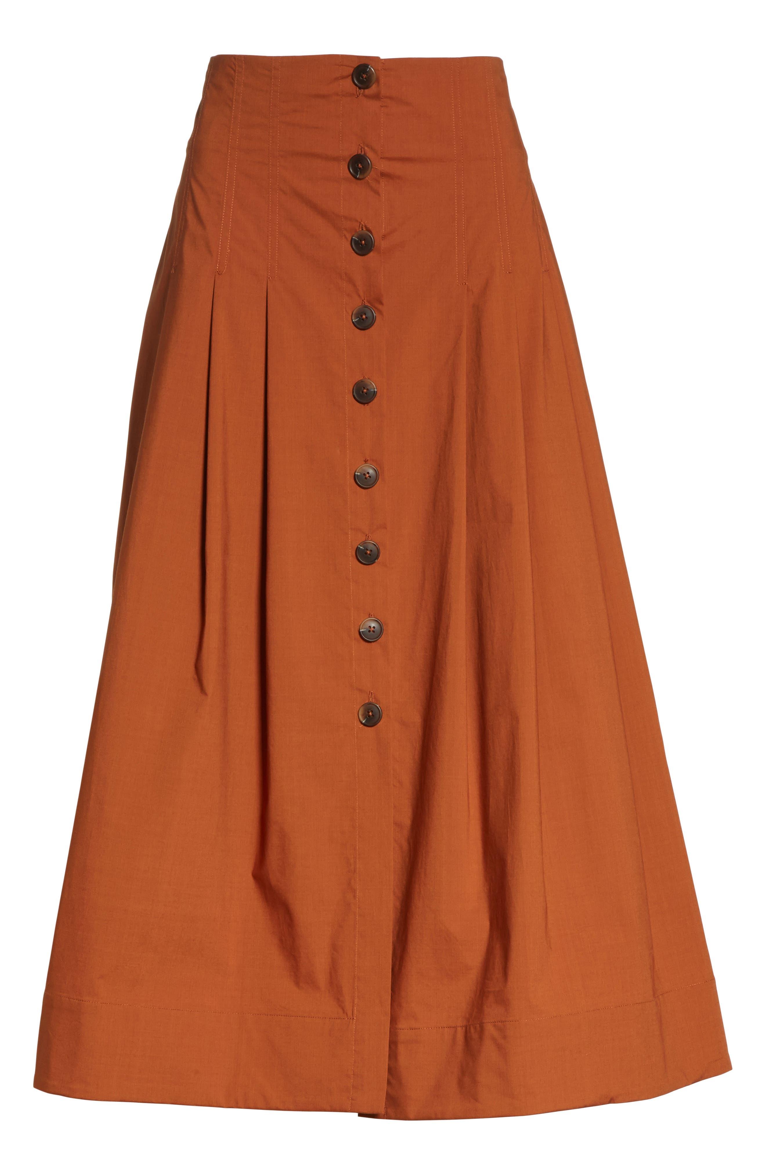 Azalia Button Front Poplin Midi Skirt,                             Alternate thumbnail 6, color,                             Walnut