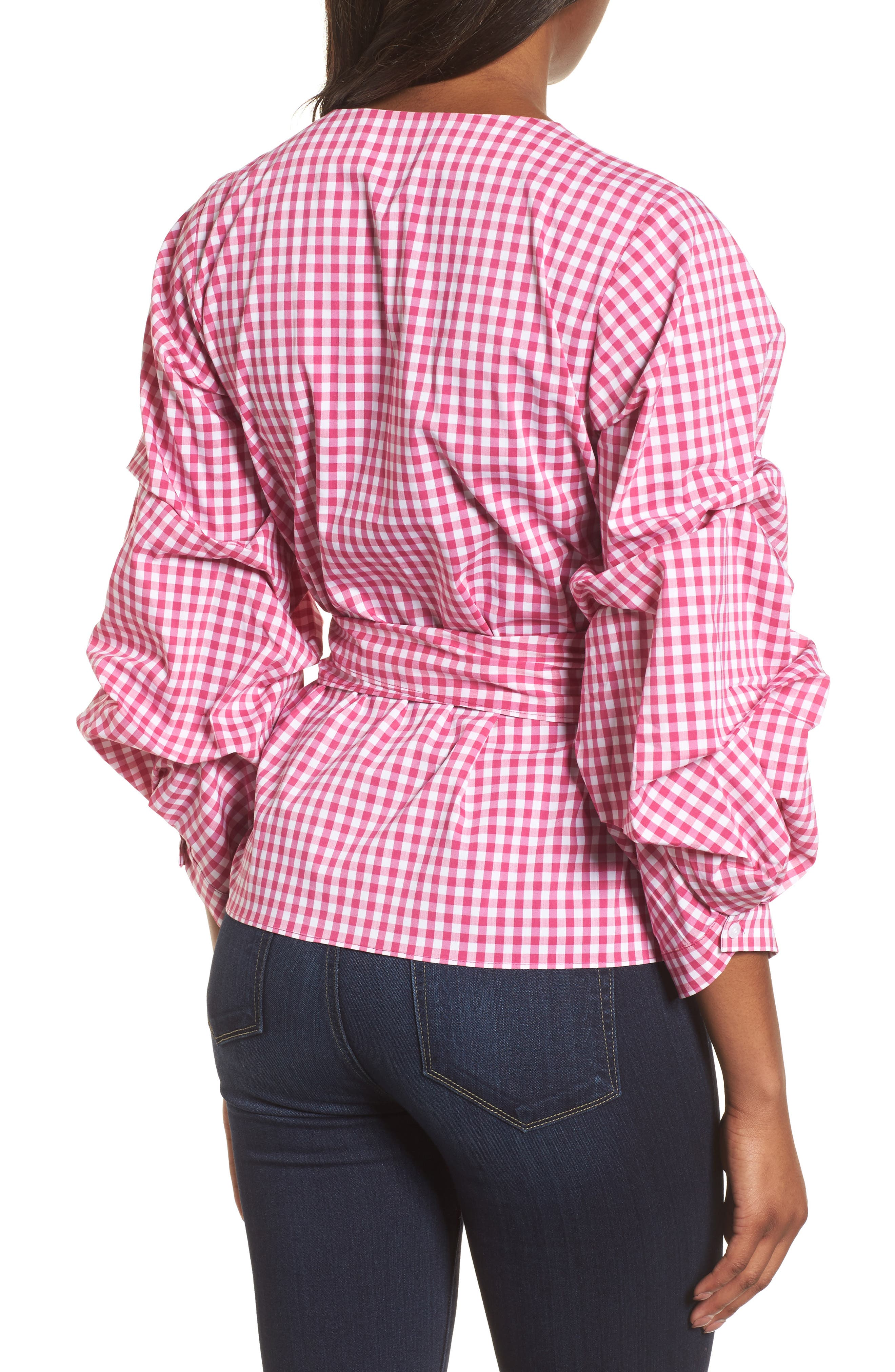 Pintuck Blouson Sleeve Wrap Top,                             Alternate thumbnail 2, color,                             Pink- White Gingham