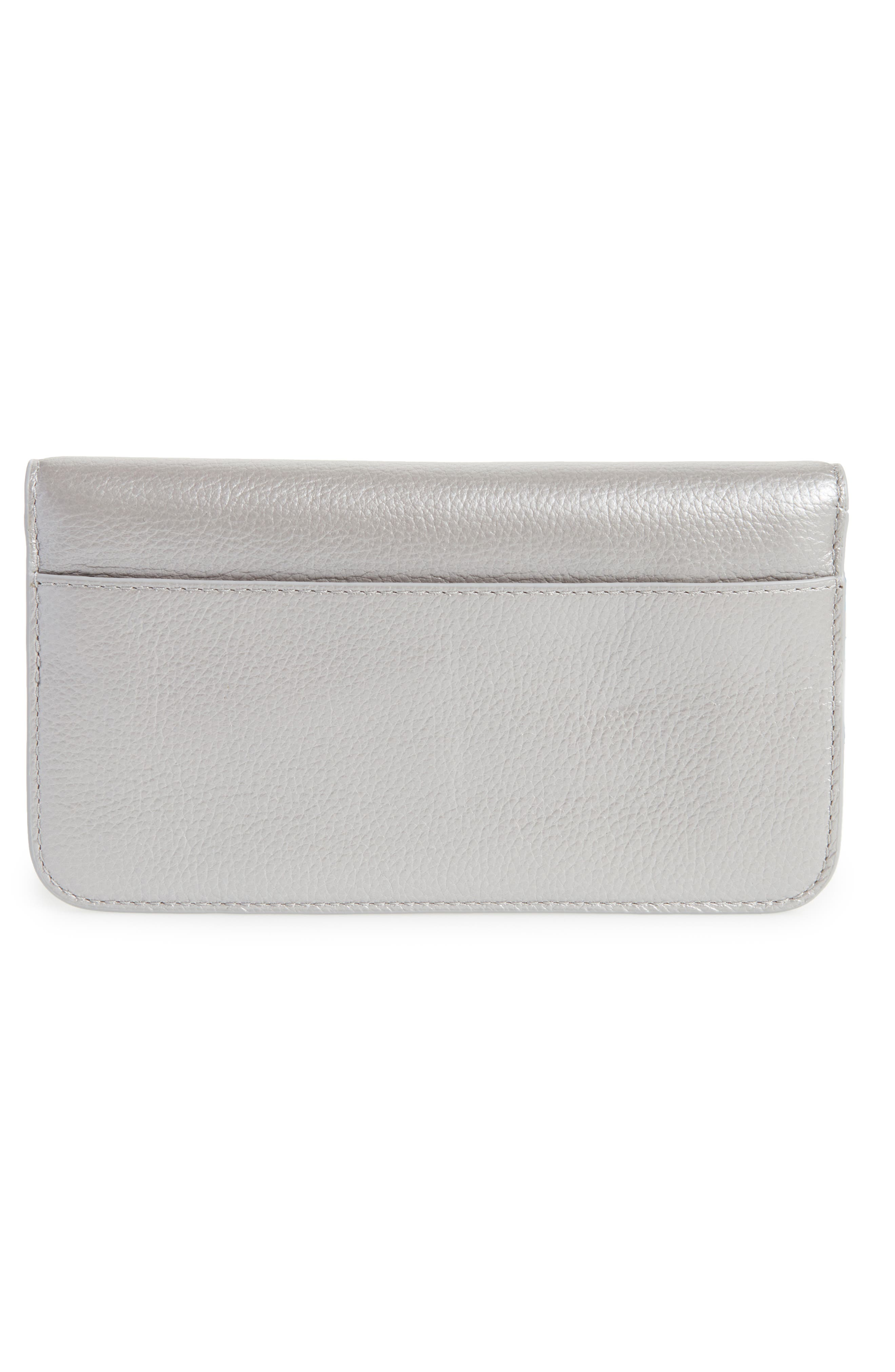 Greenwood Bristol Leather Wristlet,                             Alternate thumbnail 4, color,                             Silver