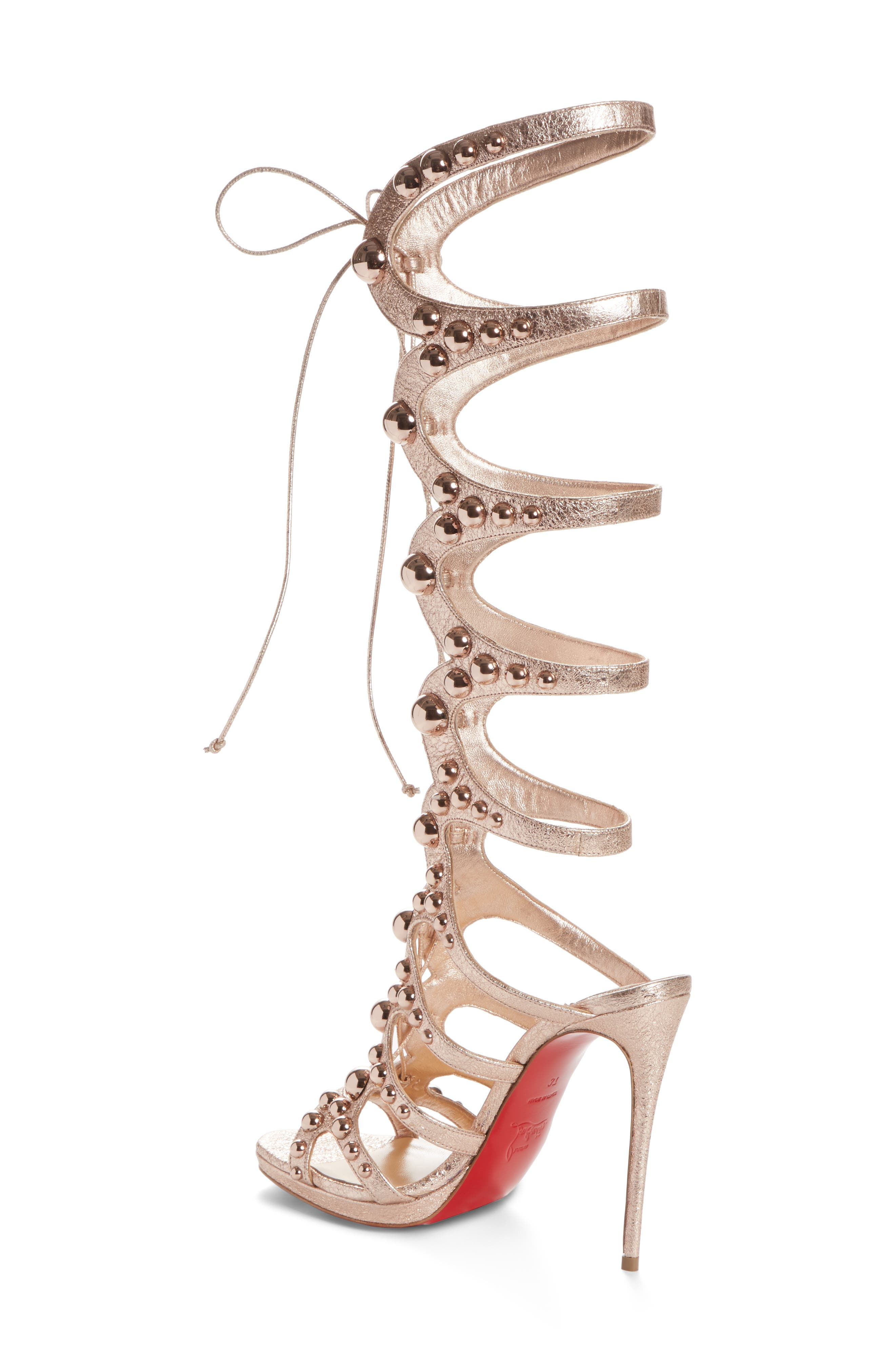 Amazoutiful Ghillie Cage Sandal,                             Alternate thumbnail 2, color,                             Rose Gold