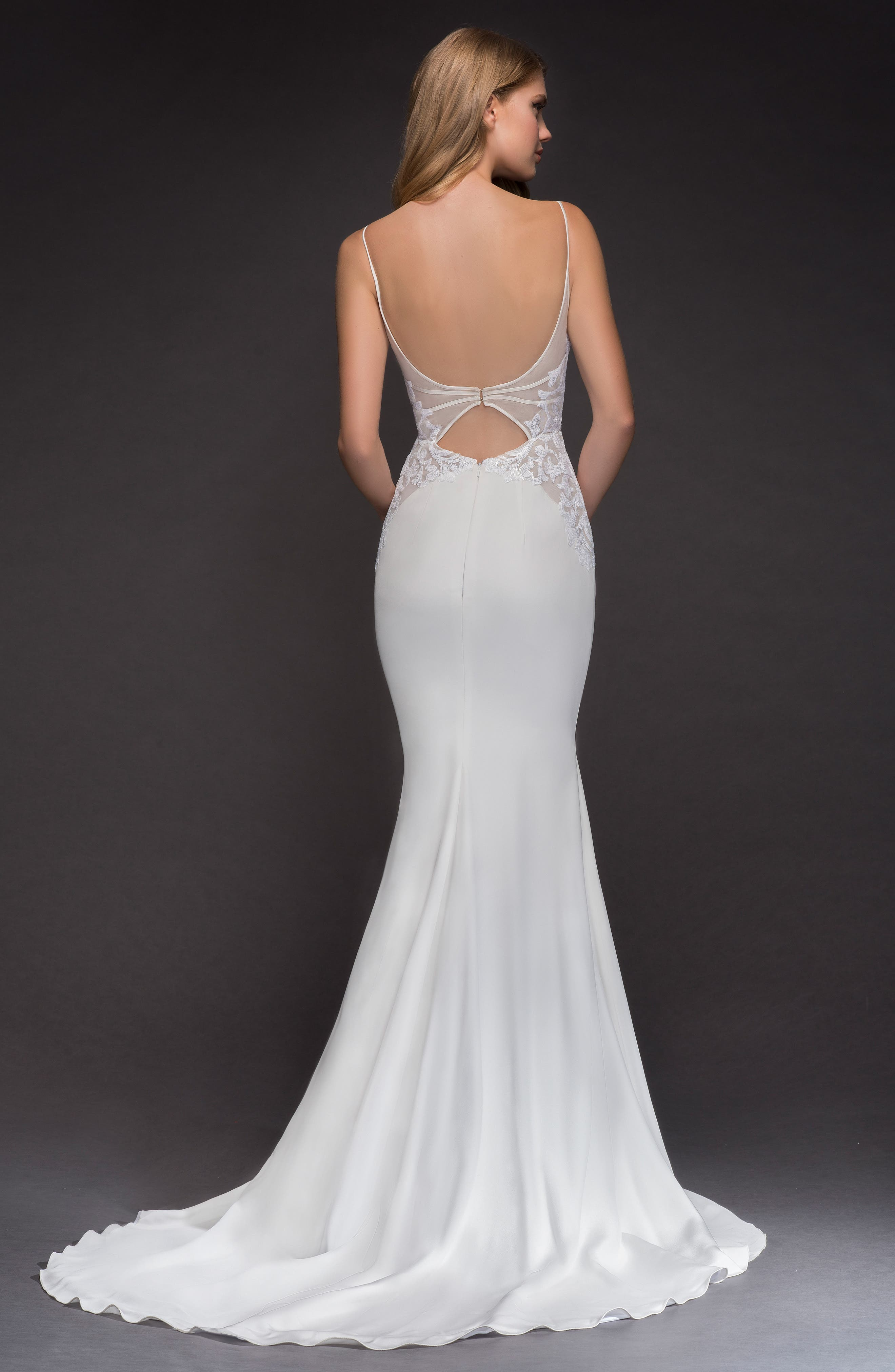Xenia Beaded Crepe Mermaid Gown,                             Alternate thumbnail 2, color,                             Ivory